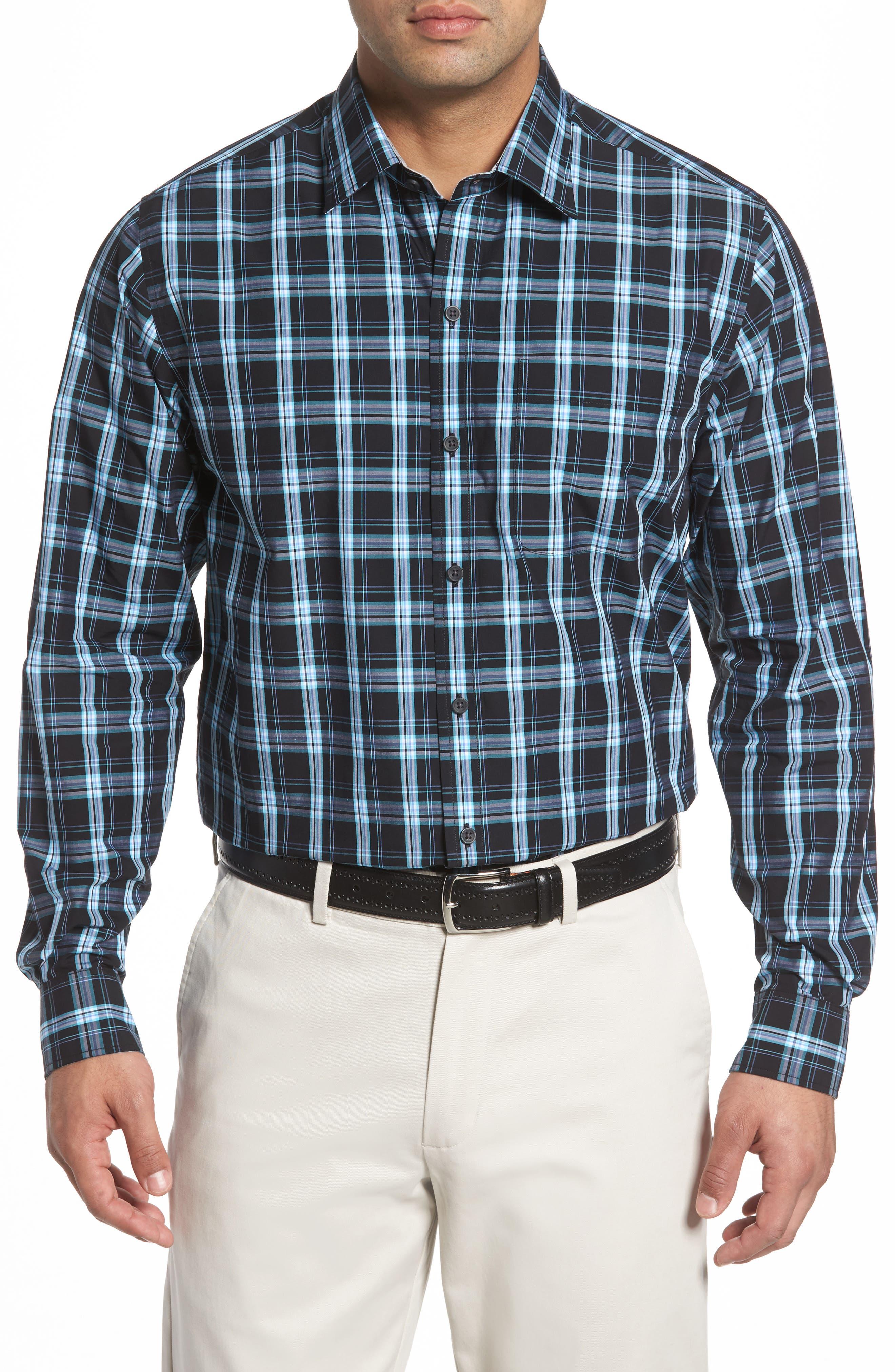 Summerland Non-Iron Plaid Sport Shirt,                         Main,                         color, Wisteria