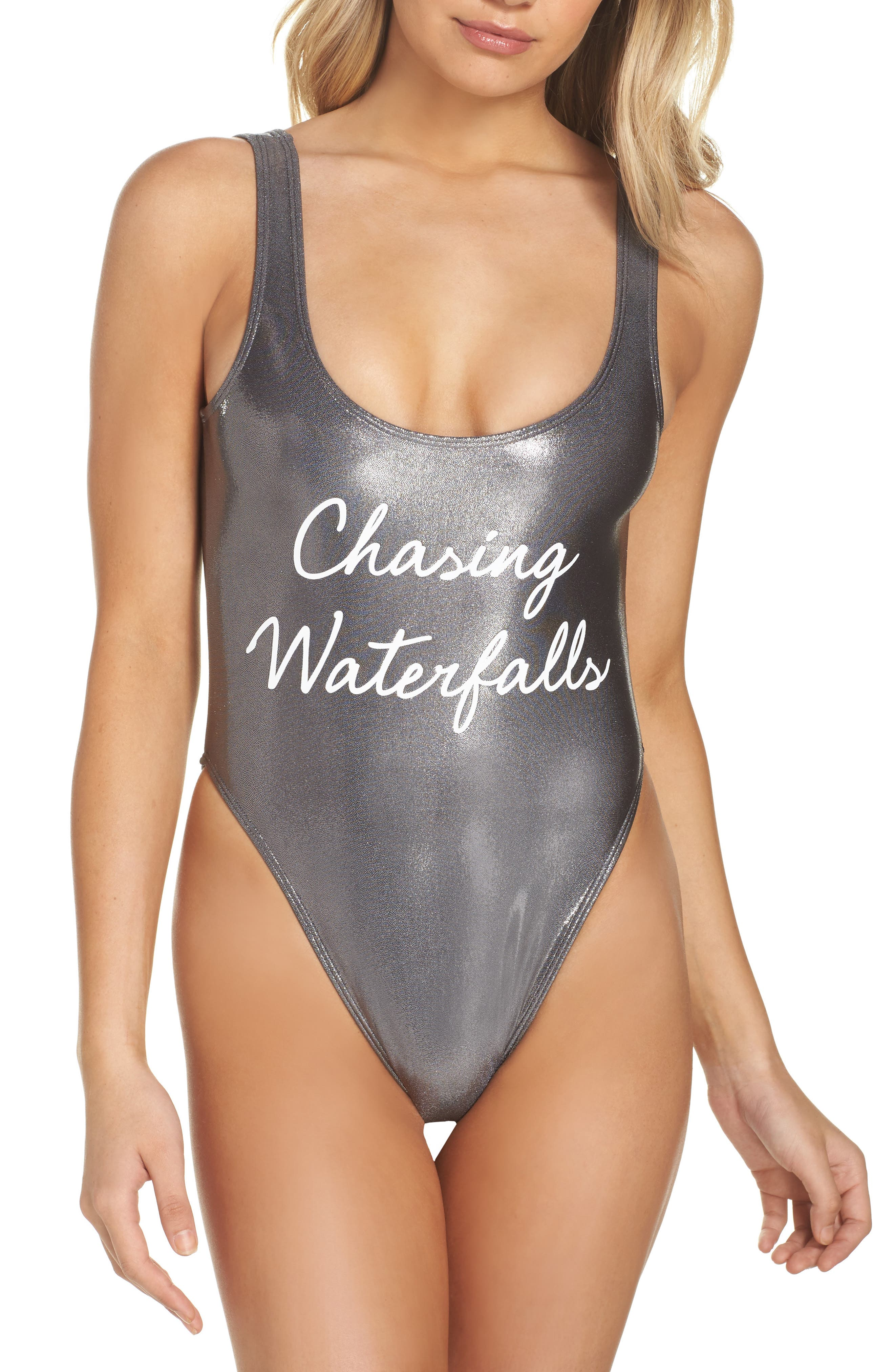 Private Party Chasing Waterfalls Metallic One-Piece Swimsuit