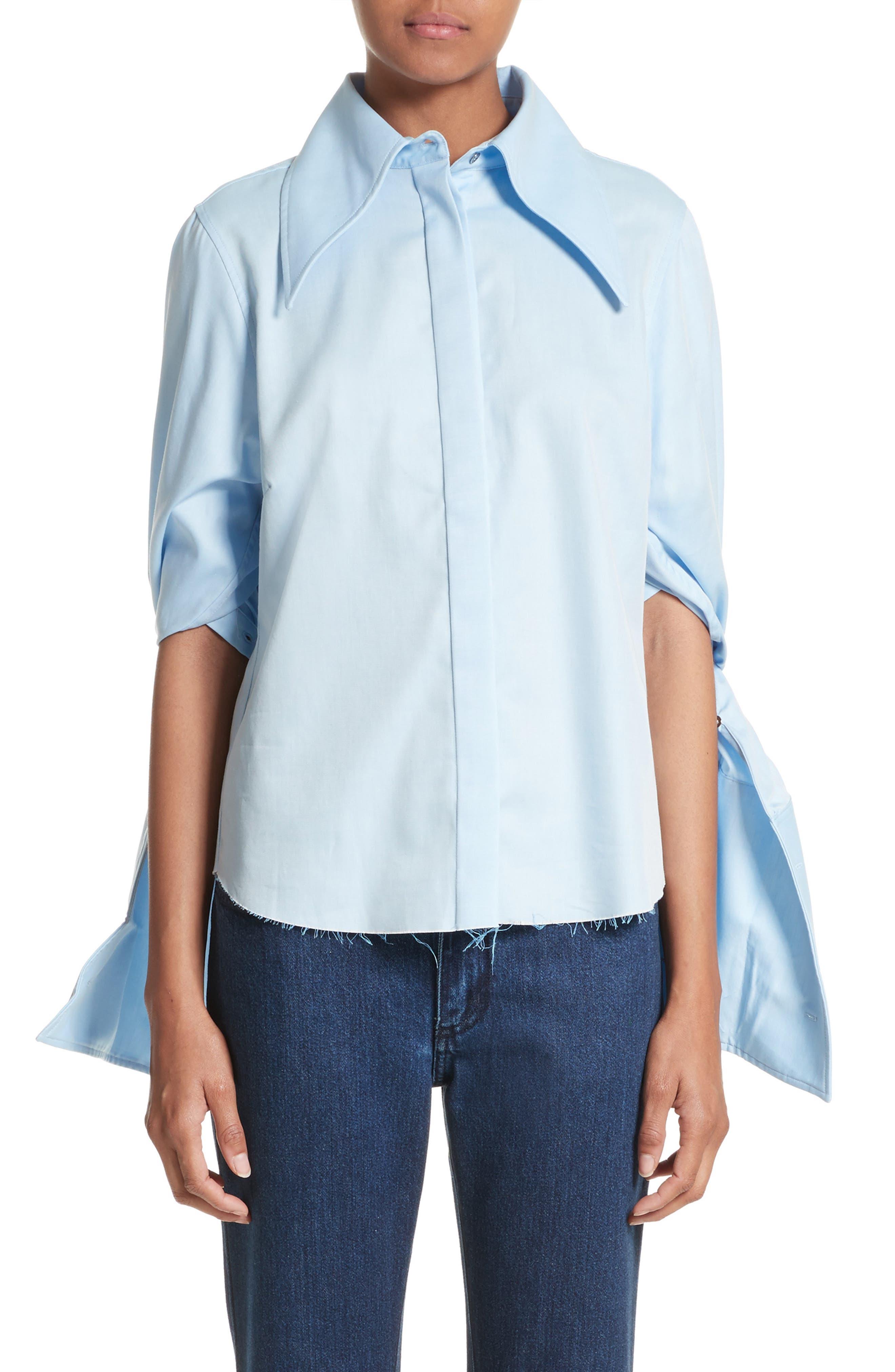 Marques'Almeida Double Sleeve Blouse,                         Main,                         color, Light Blue