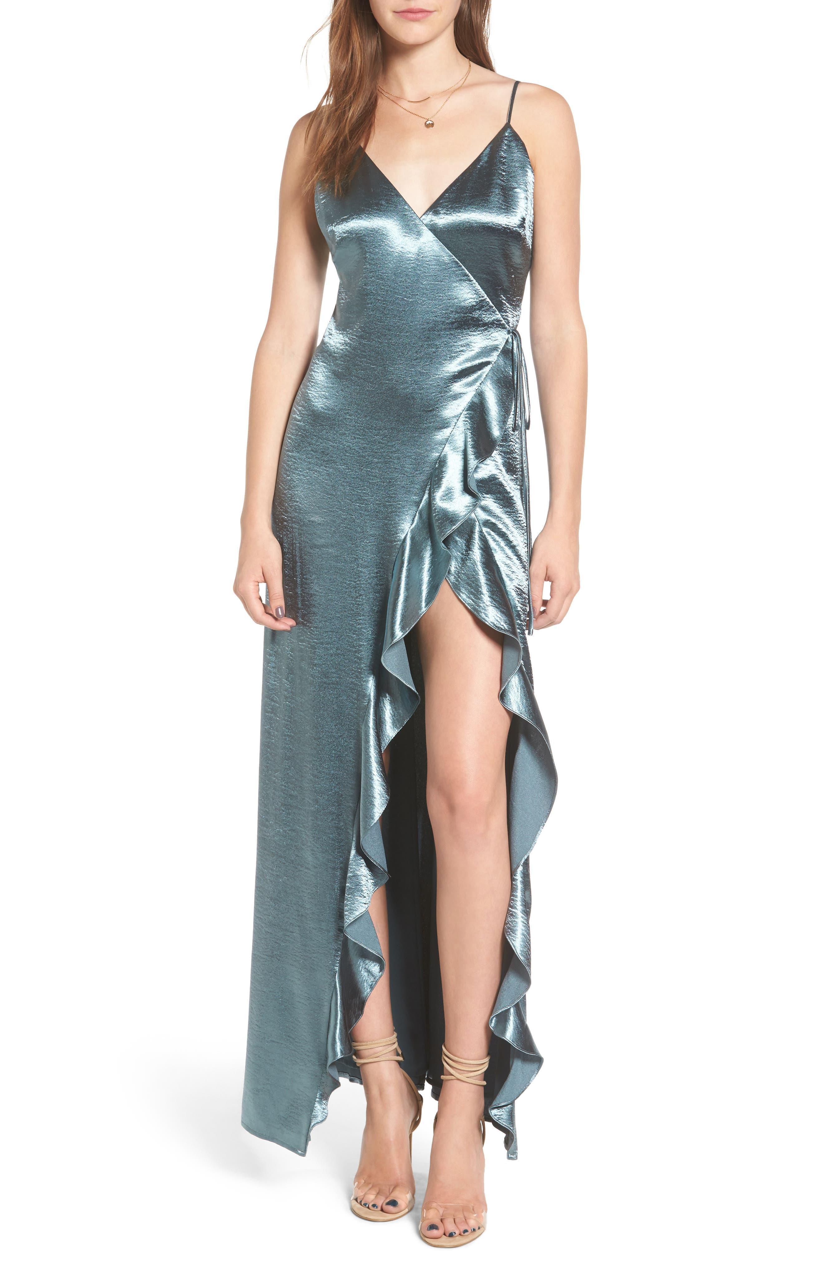 Pelican Wrap Maxi Dress,                         Main,                         color, Sage Metallic