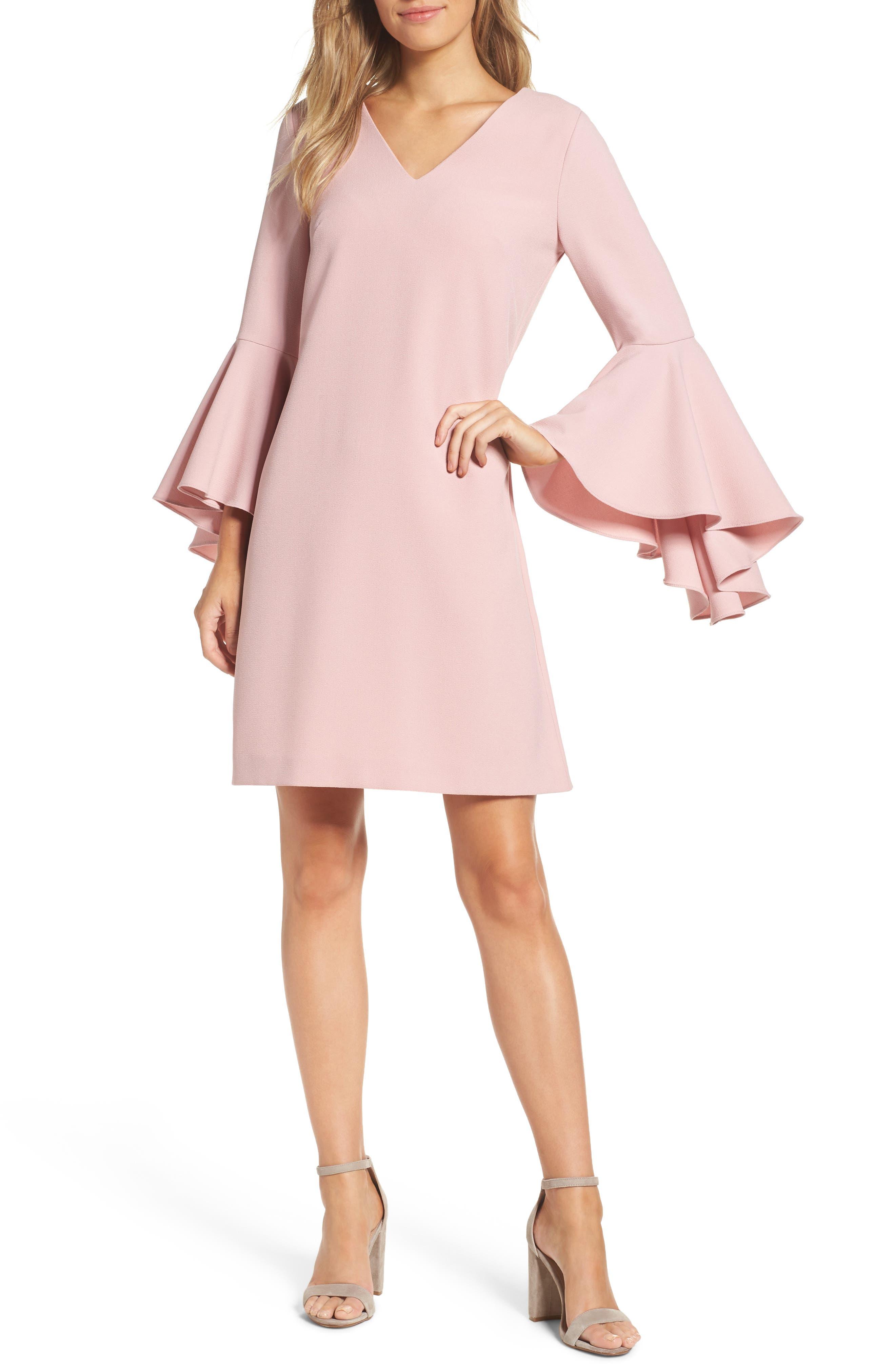 Bell Sleeve Crepe Shift Dress,                         Main,                         color, Blush