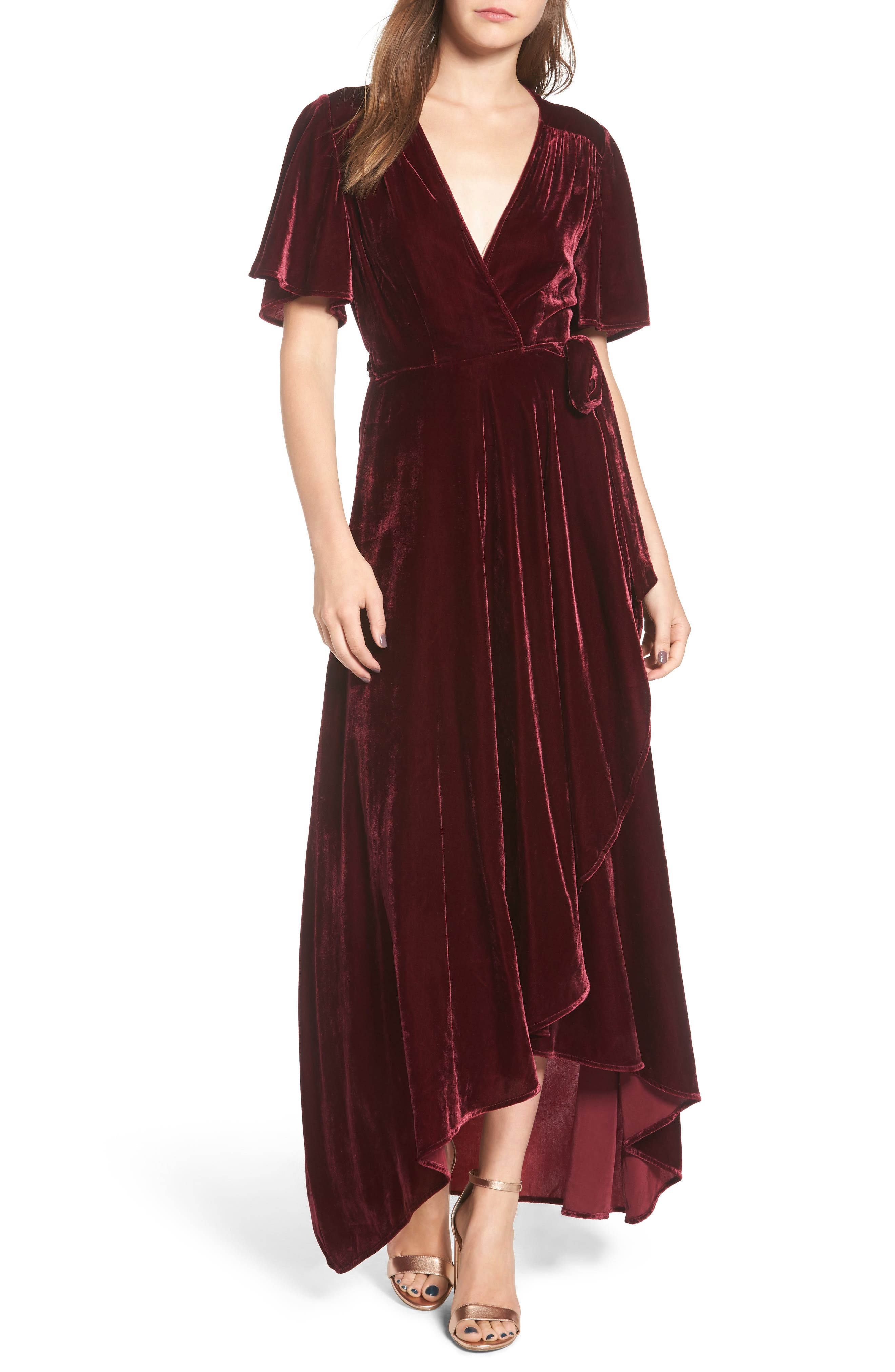 Velvet Wrap Maxi Dress,                             Main thumbnail 1, color,                             Burgundy