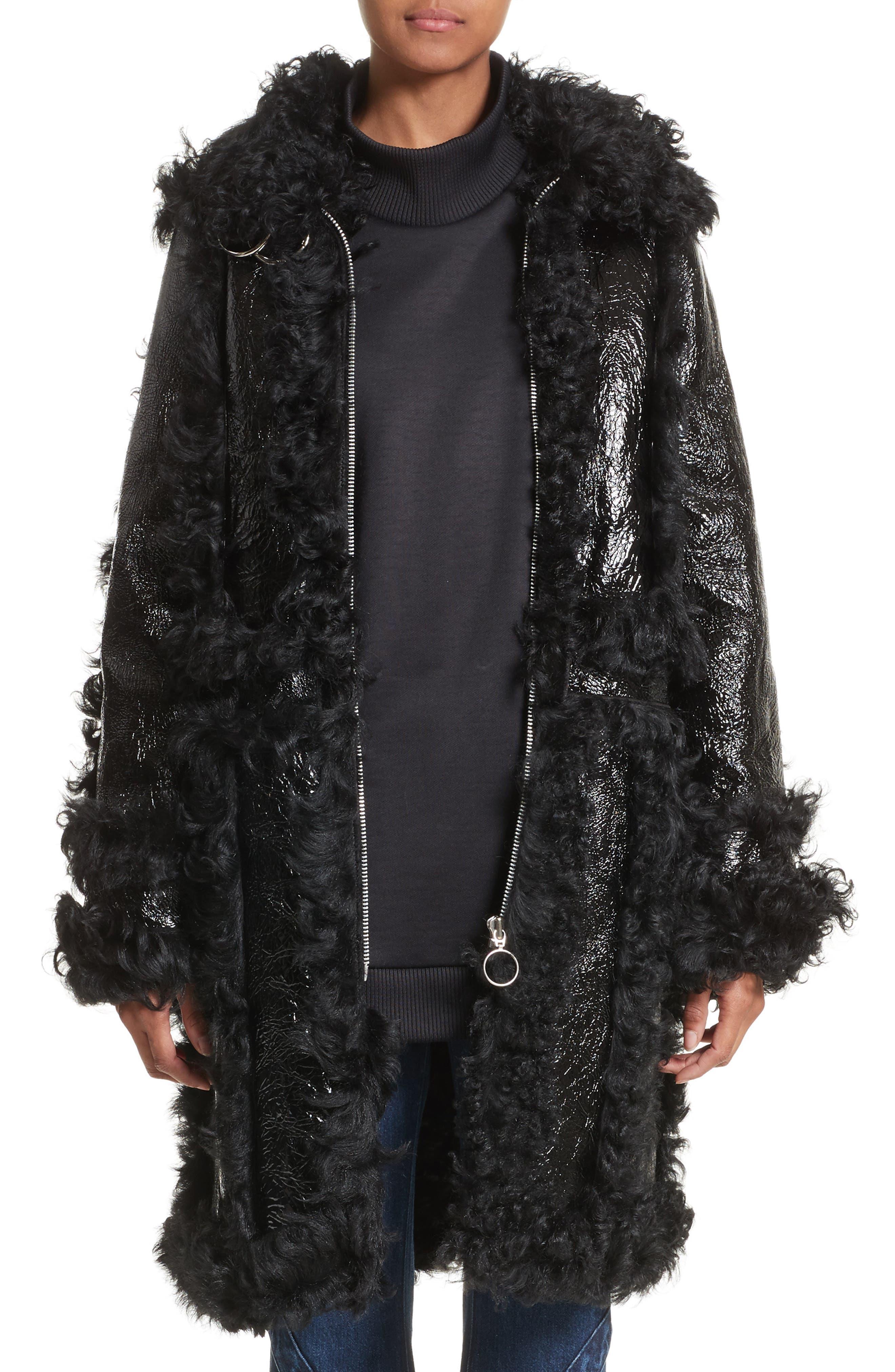 Marques'Almeida Foiled Genuine Shearling Coat,                             Main thumbnail 1, color,                             Black/Black