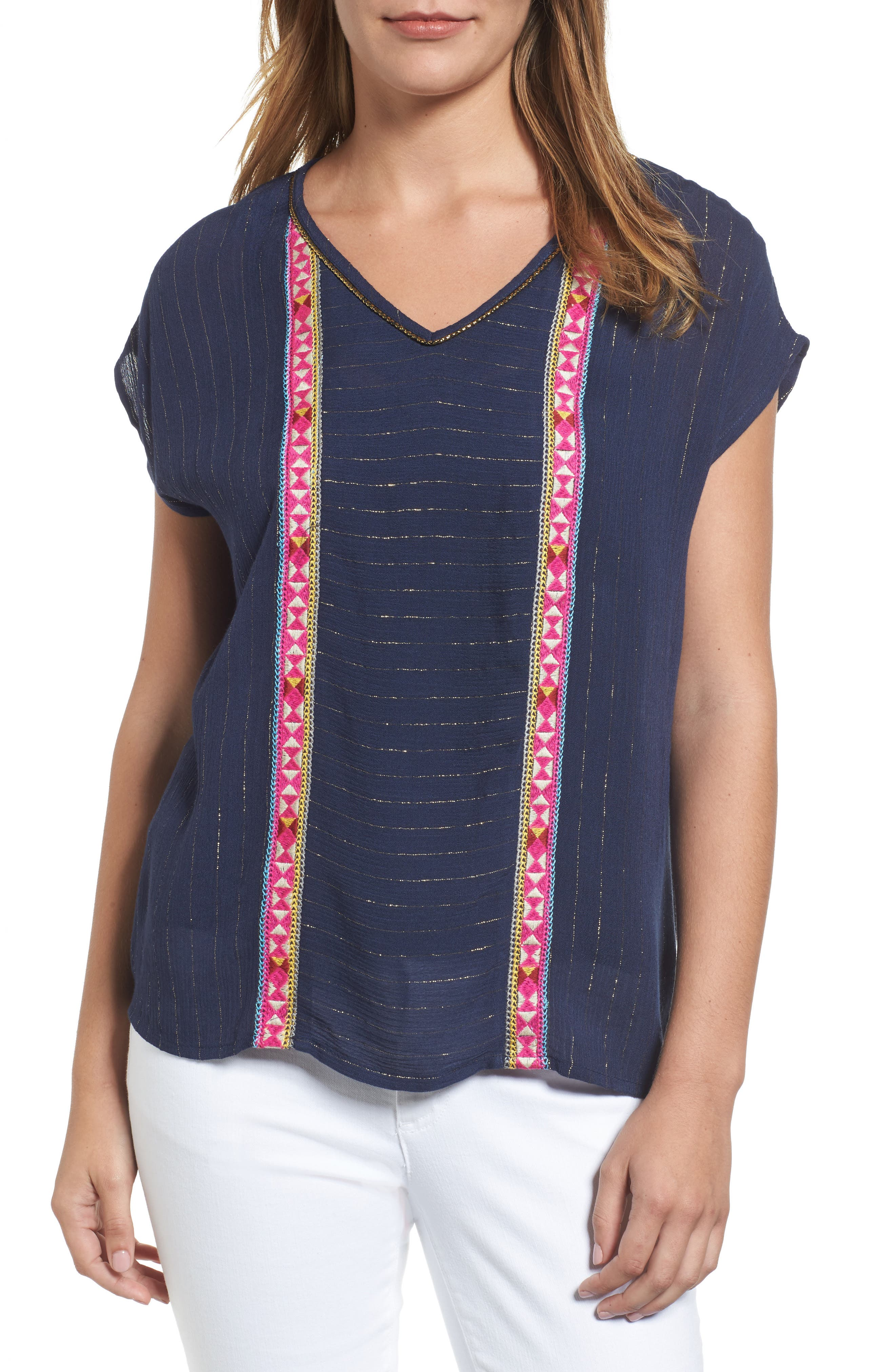 THML Embroidered Metallic Pinstripe Top