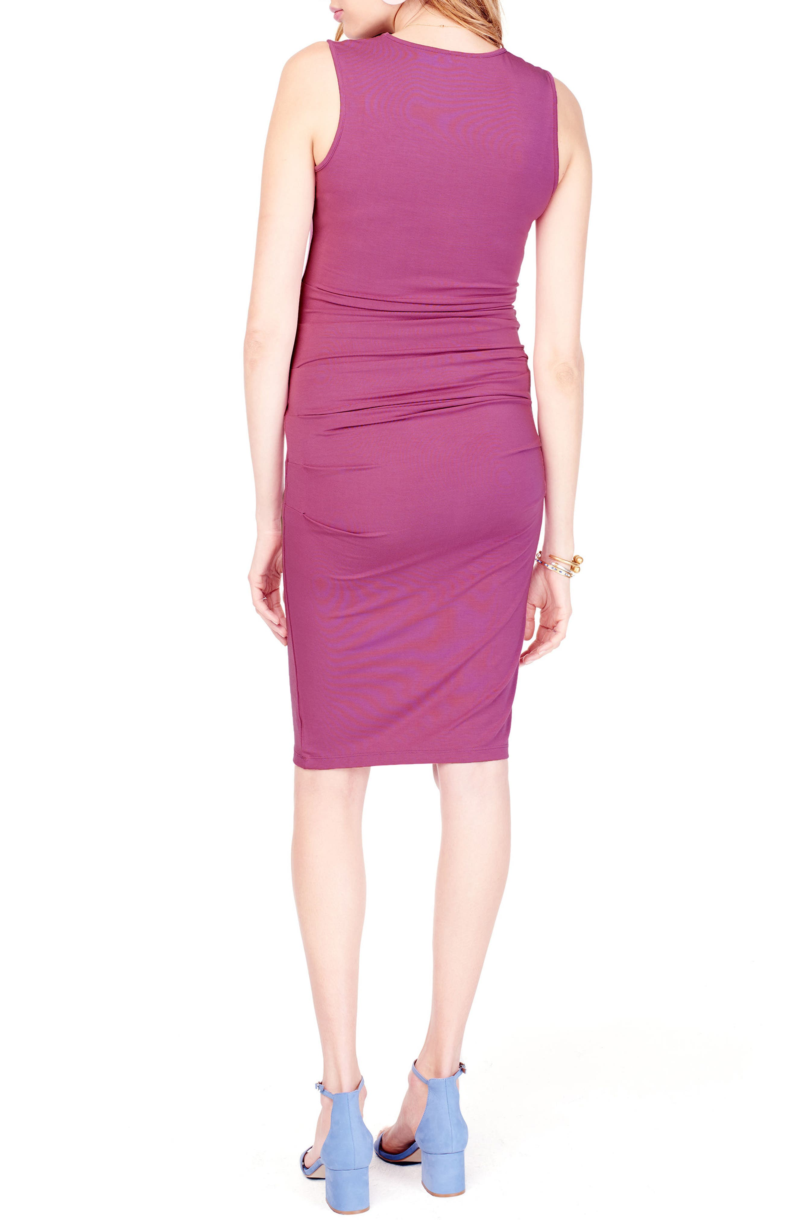 Ruched Maternity Tank Dress,                             Alternate thumbnail 3, color,                             Hibiscus