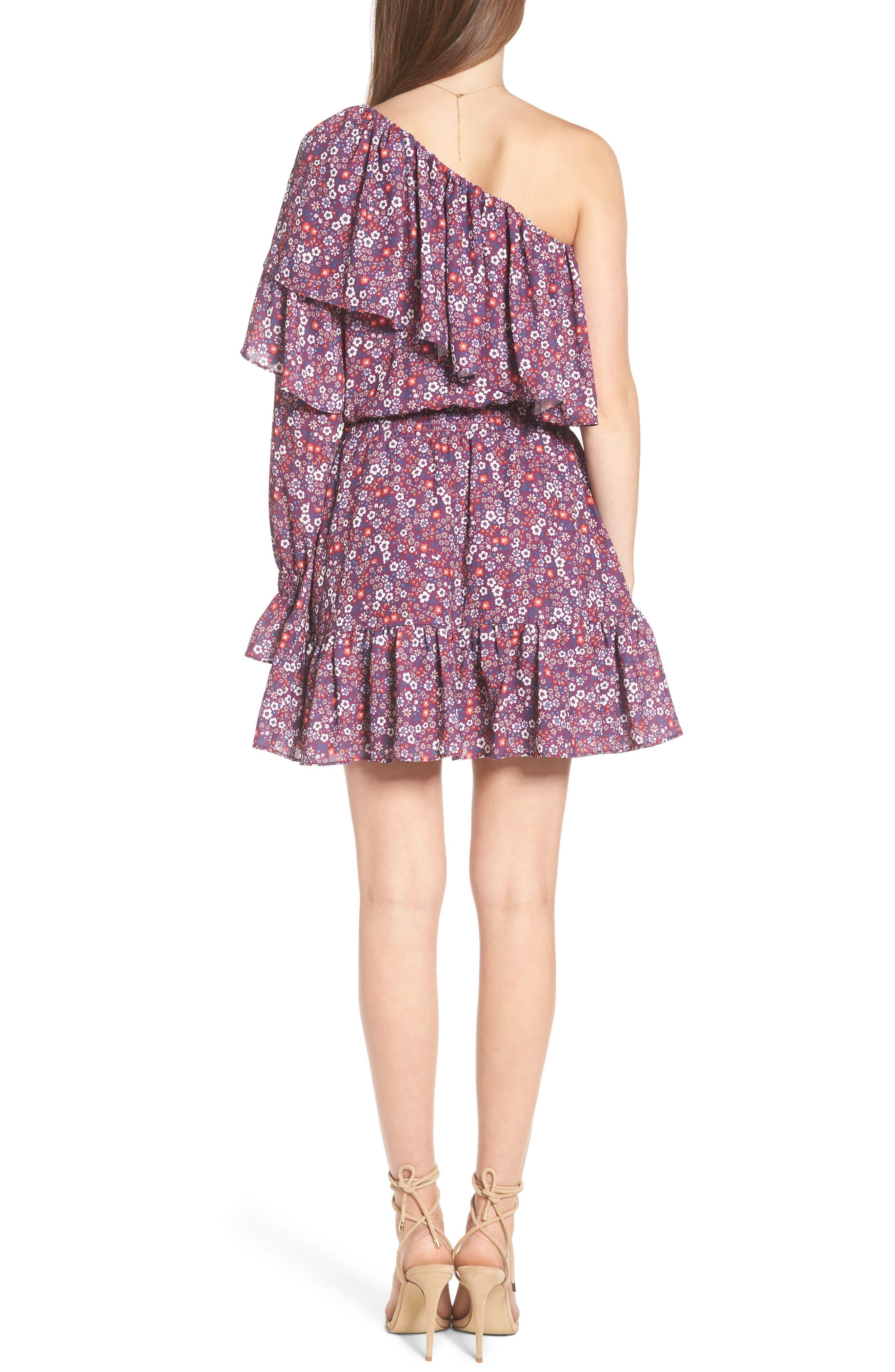 Irina One-Shoulder Blouson Dress,                             Alternate thumbnail 2, color,                             Magnolia