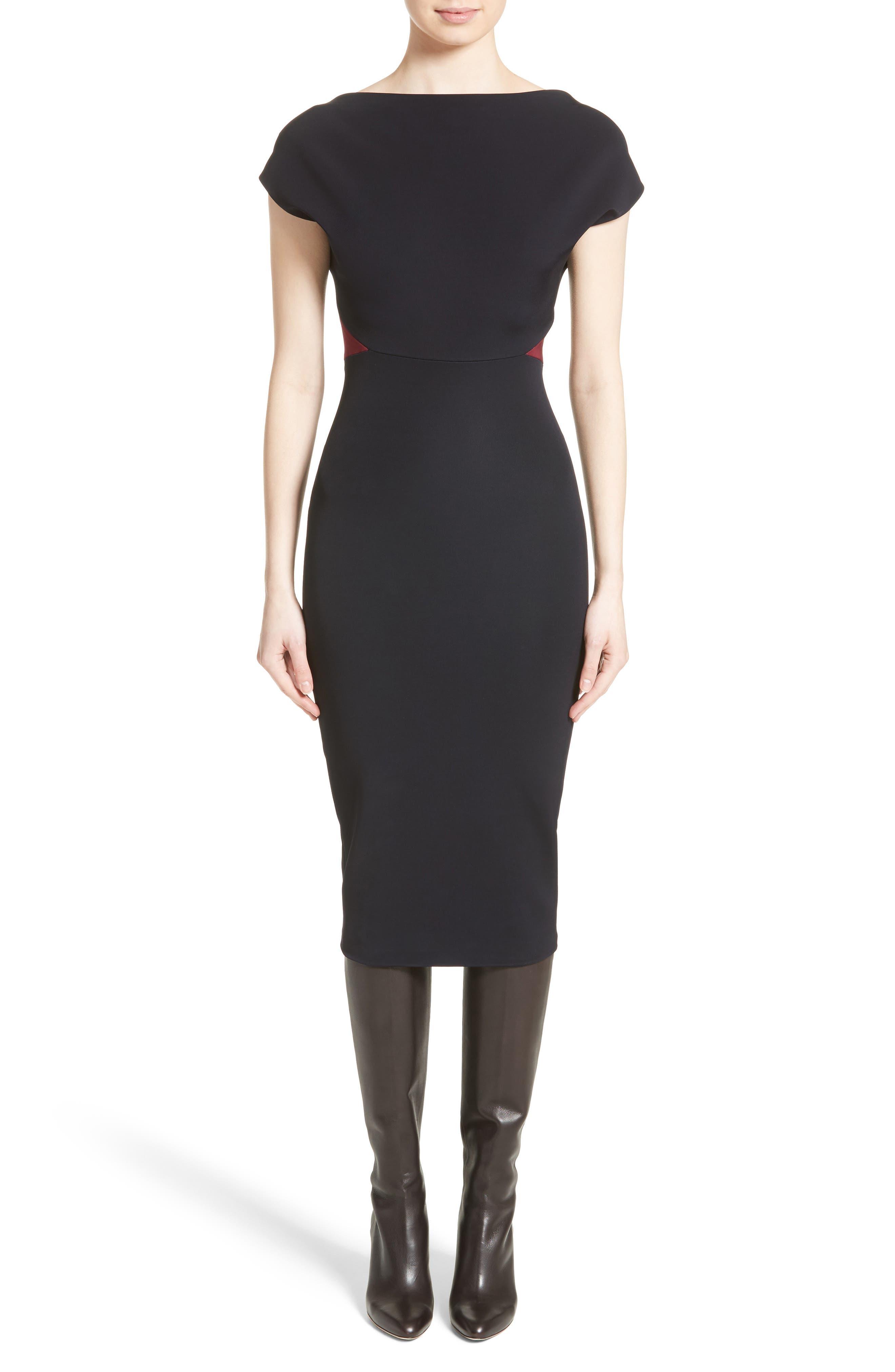 Victoria Beckham Open Back Rib Knit Dress