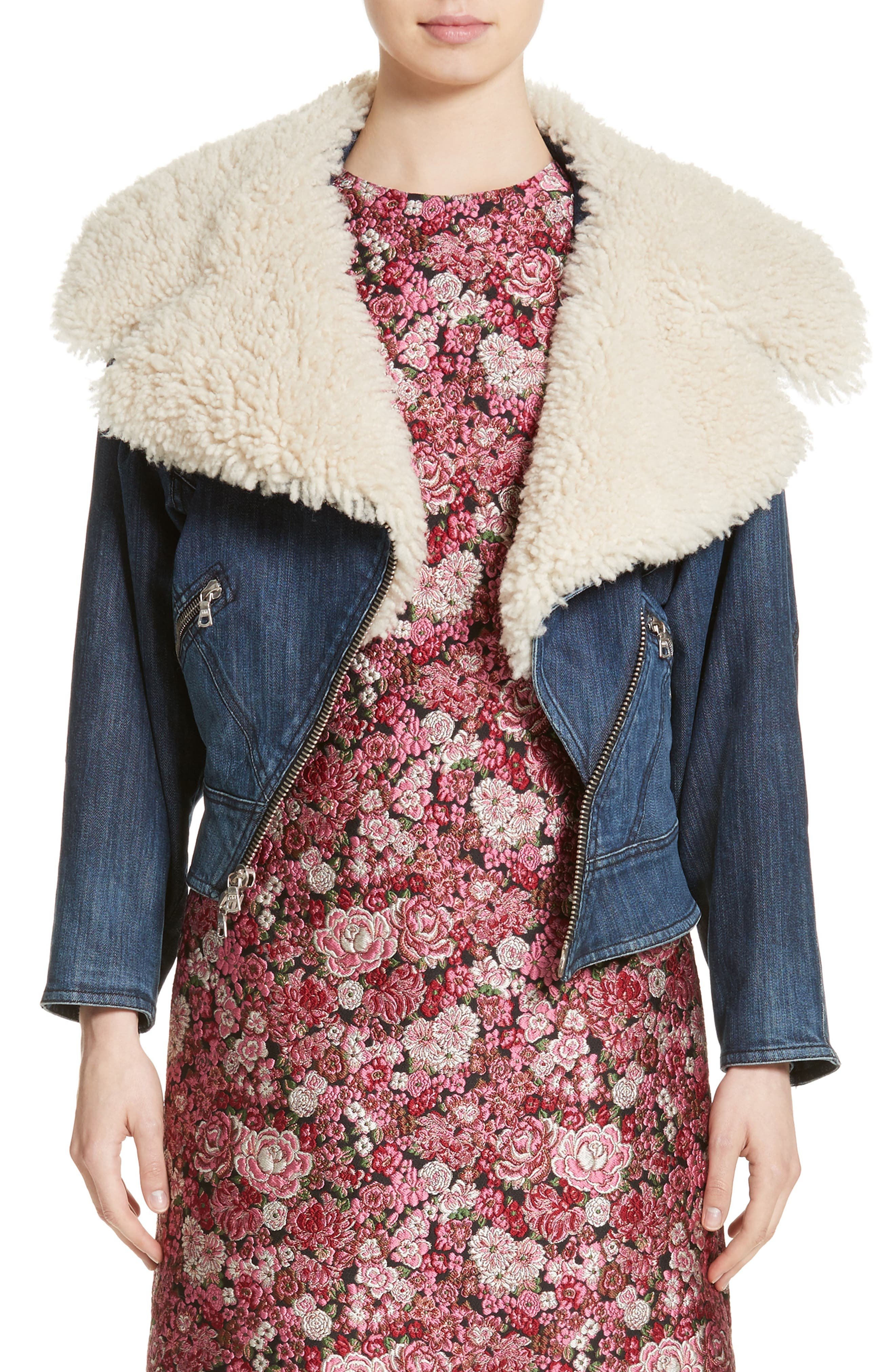 Adam Lippes Stretch Denim Moto Jacket with Removable Genuine Lamb Fur Collar