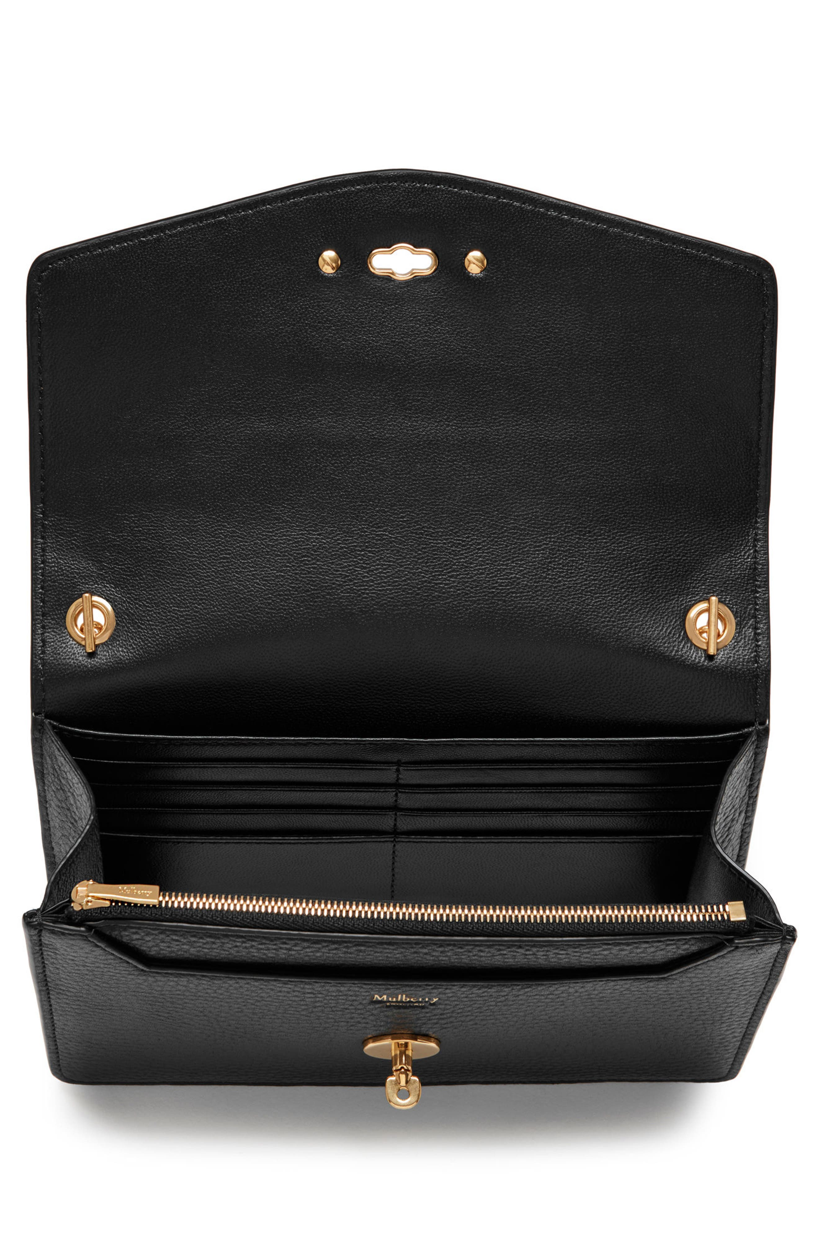 Small Darley Leather Clutch,                             Alternate thumbnail 2, color,                             Black