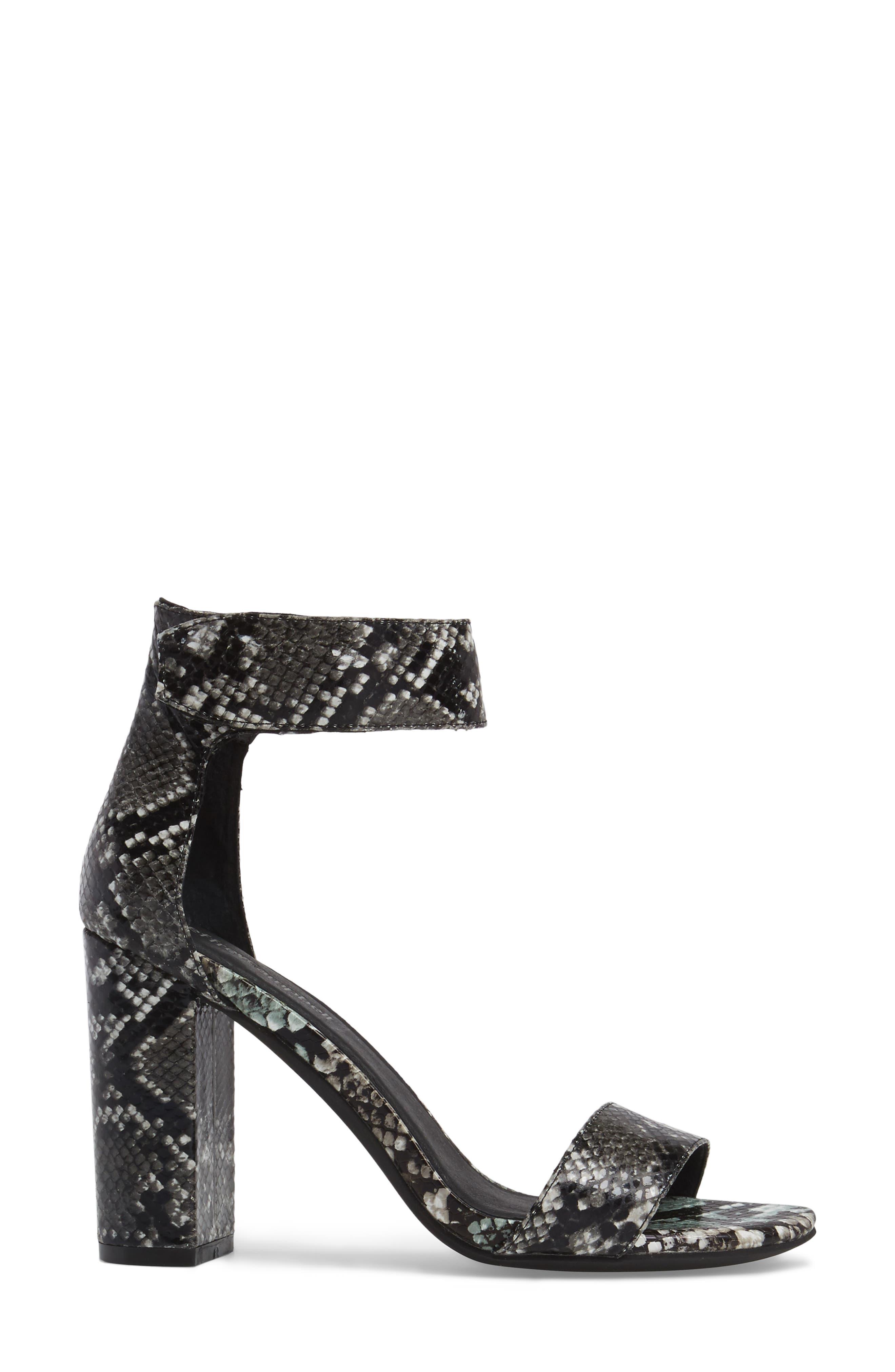'Lindsay' Ankle Strap Sandal,                             Alternate thumbnail 3, color,                             Black Grey Snake