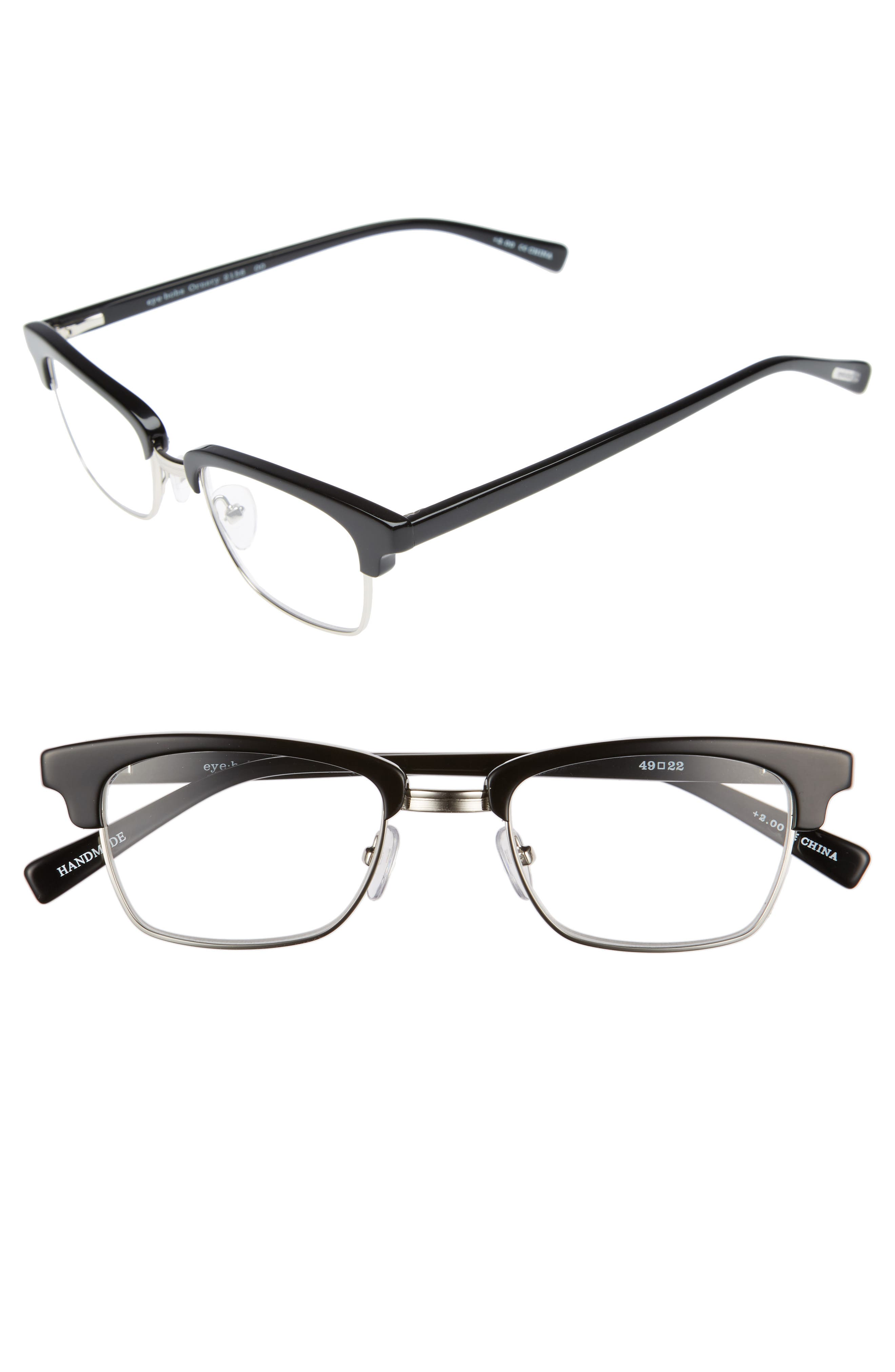 Ornery 49mm Reading Glasses,                         Main,                         color, Black With Silver
