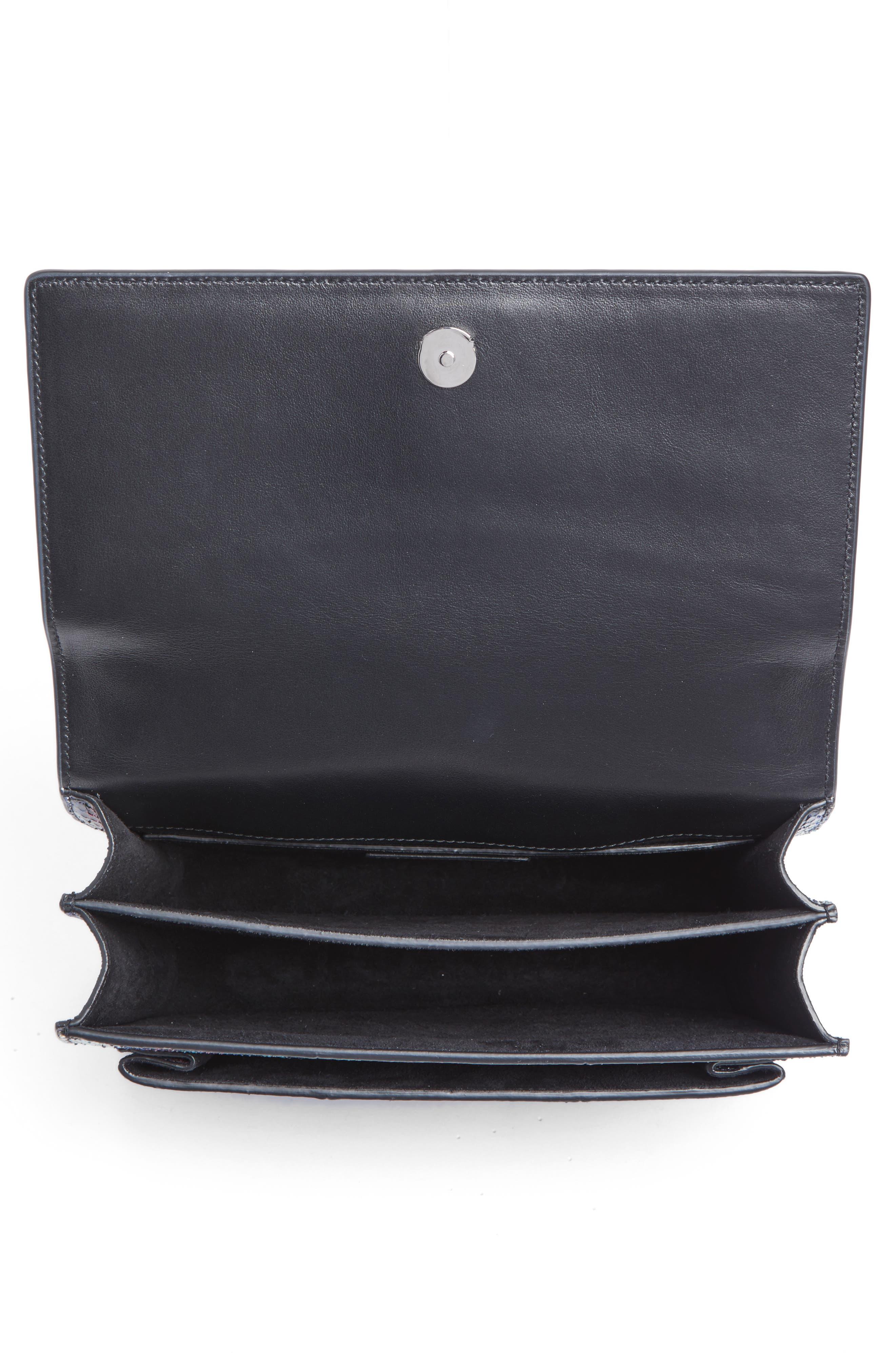 Medium Monogram Sunset Genuine Snakeskin Crossbody Bag,                             Alternate thumbnail 4, color,                             Black Multi