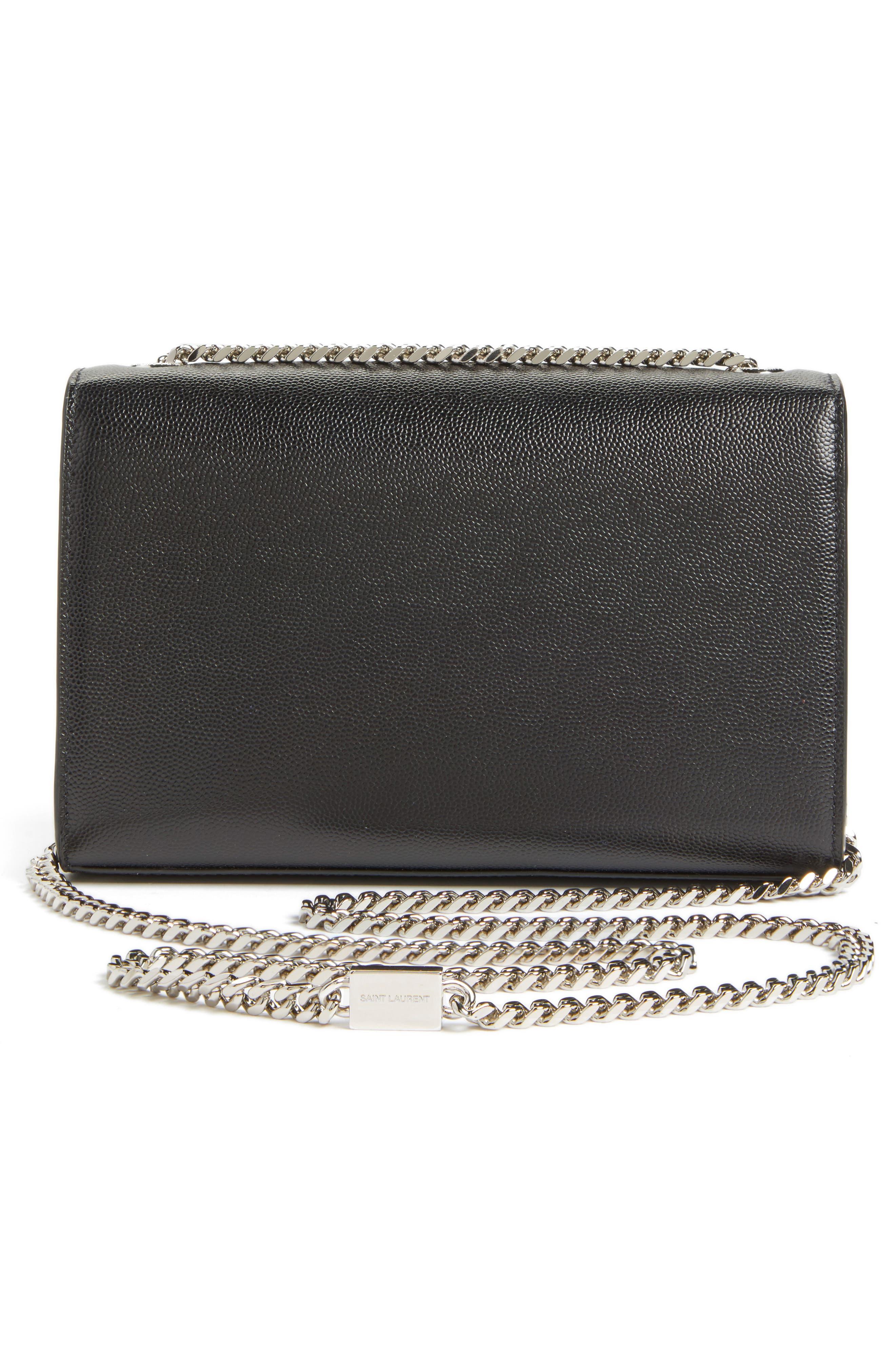 Small Kate Grained Leather Crossbody Bag,                             Alternate thumbnail 3, color,                             Noir
