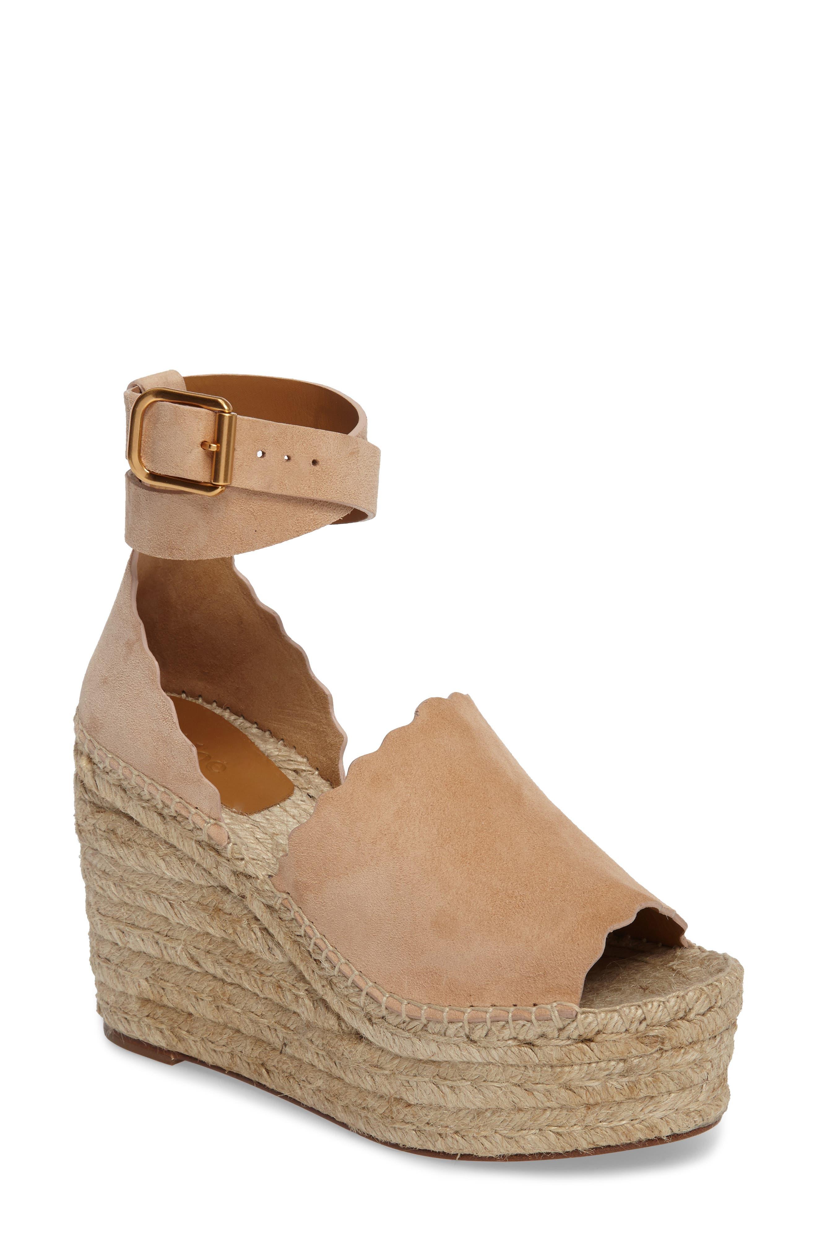 Lauren Espadrille Wedge Sandal,                         Main,                         color, Beige Suede