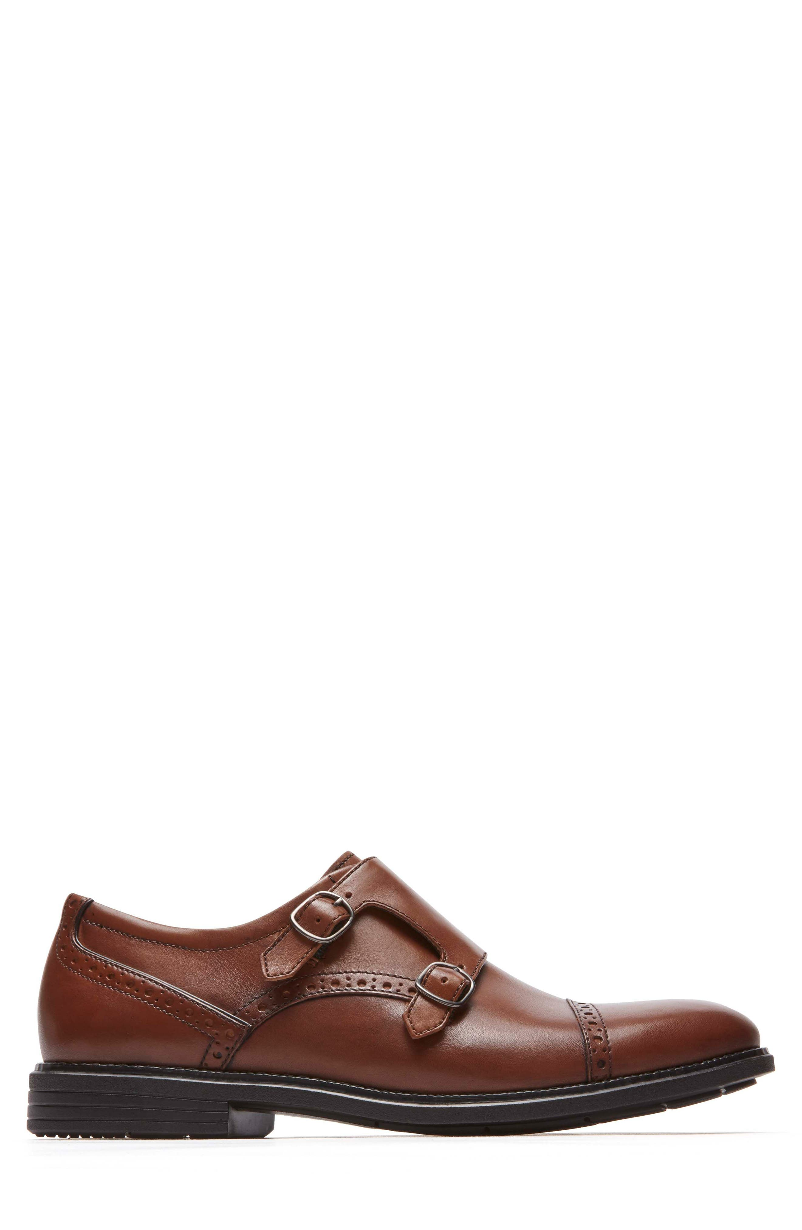 Madson Double Monk Strap Shoe,                             Alternate thumbnail 3, color,                             Tan Leather