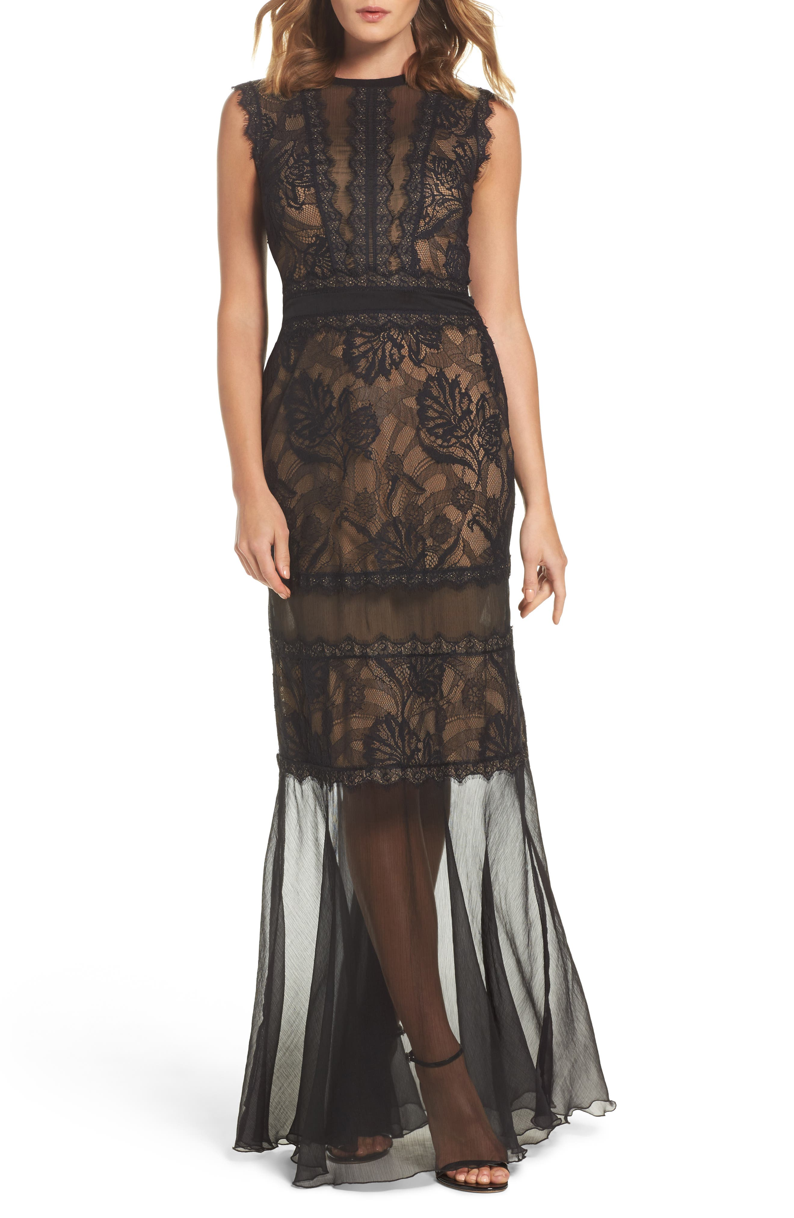Mermaid Gown,                         Main,                         color, Black/ Nude