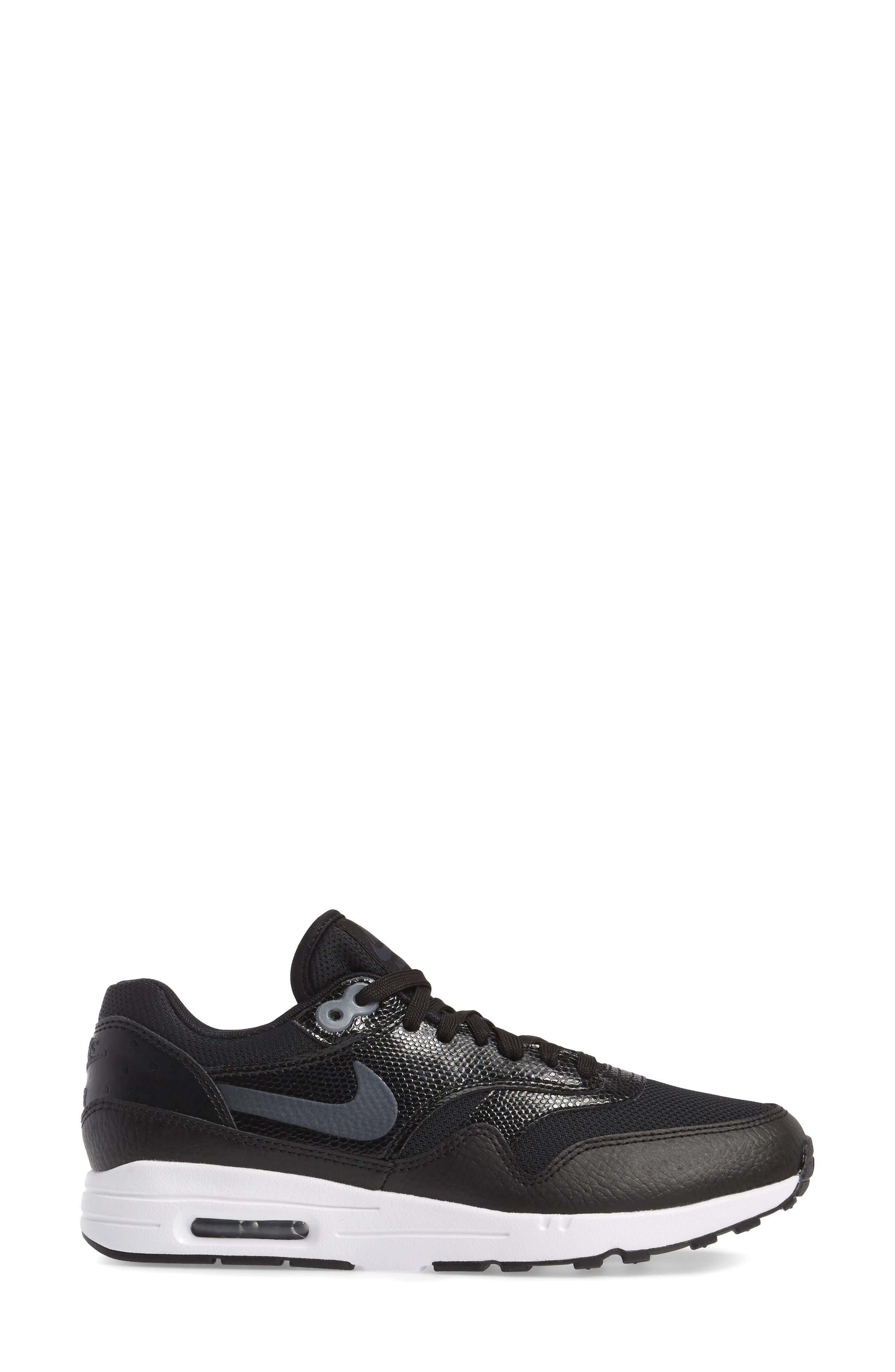 Air Max 1 Ultra 2.0 Running Shoe,                             Alternate thumbnail 3, color,                             Hematite/ Black/ White