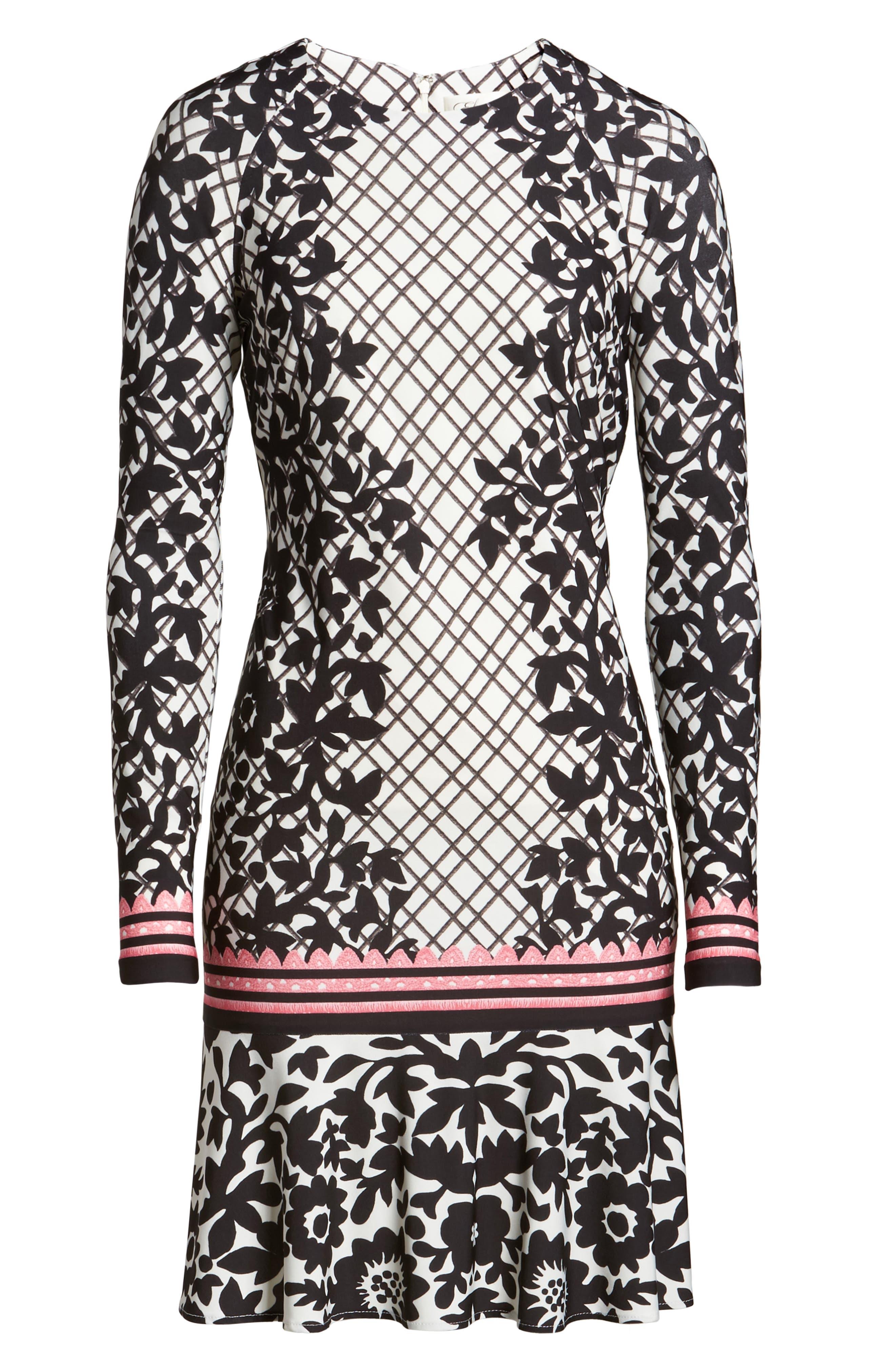 Print Knit Trumpet Dress,                             Alternate thumbnail 6, color,                             Black/ Pink
