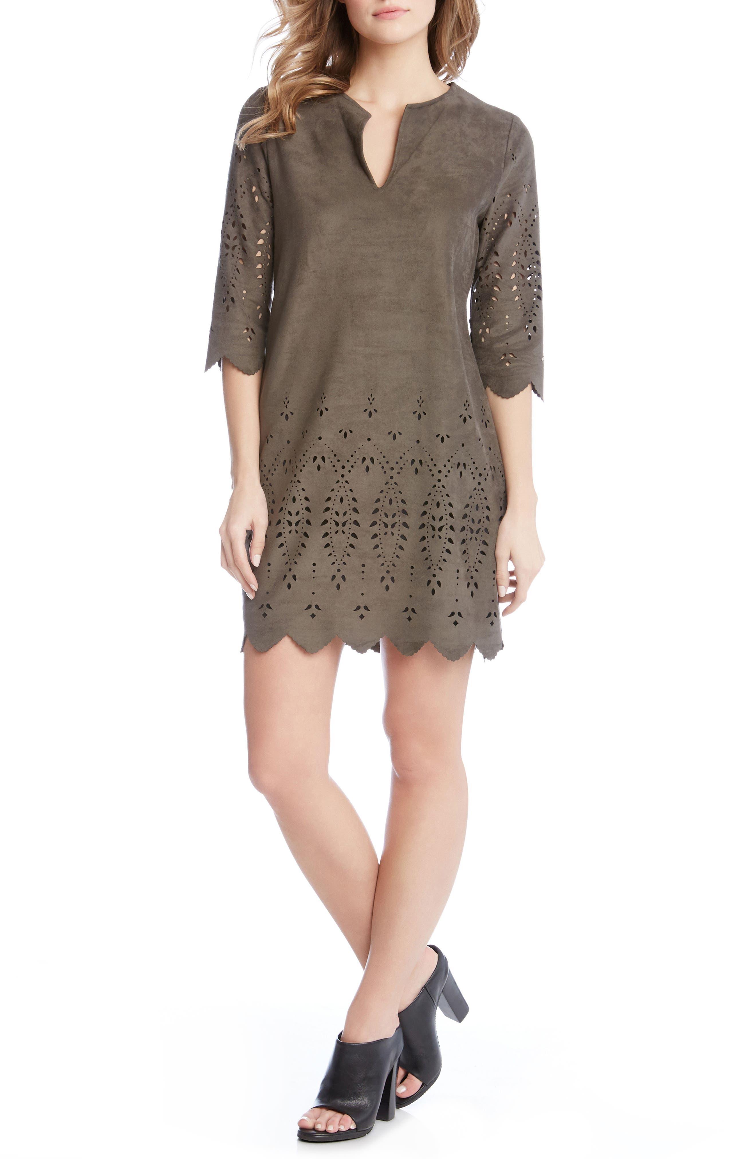 Laser Cut Faux Suede Dress,                         Main,                         color, Slate