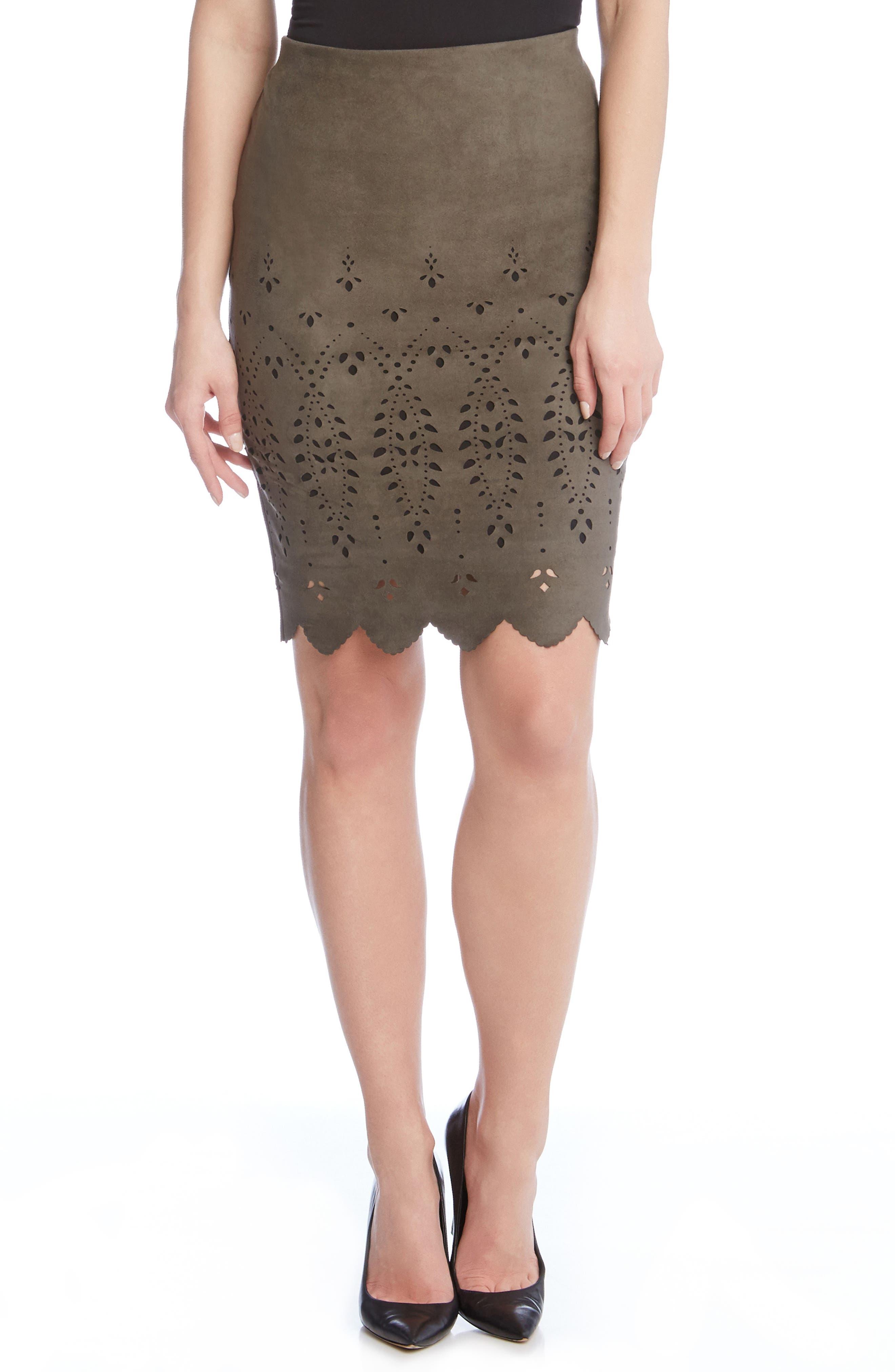 Karen Kane Laser Cut Faux Suede Skirt