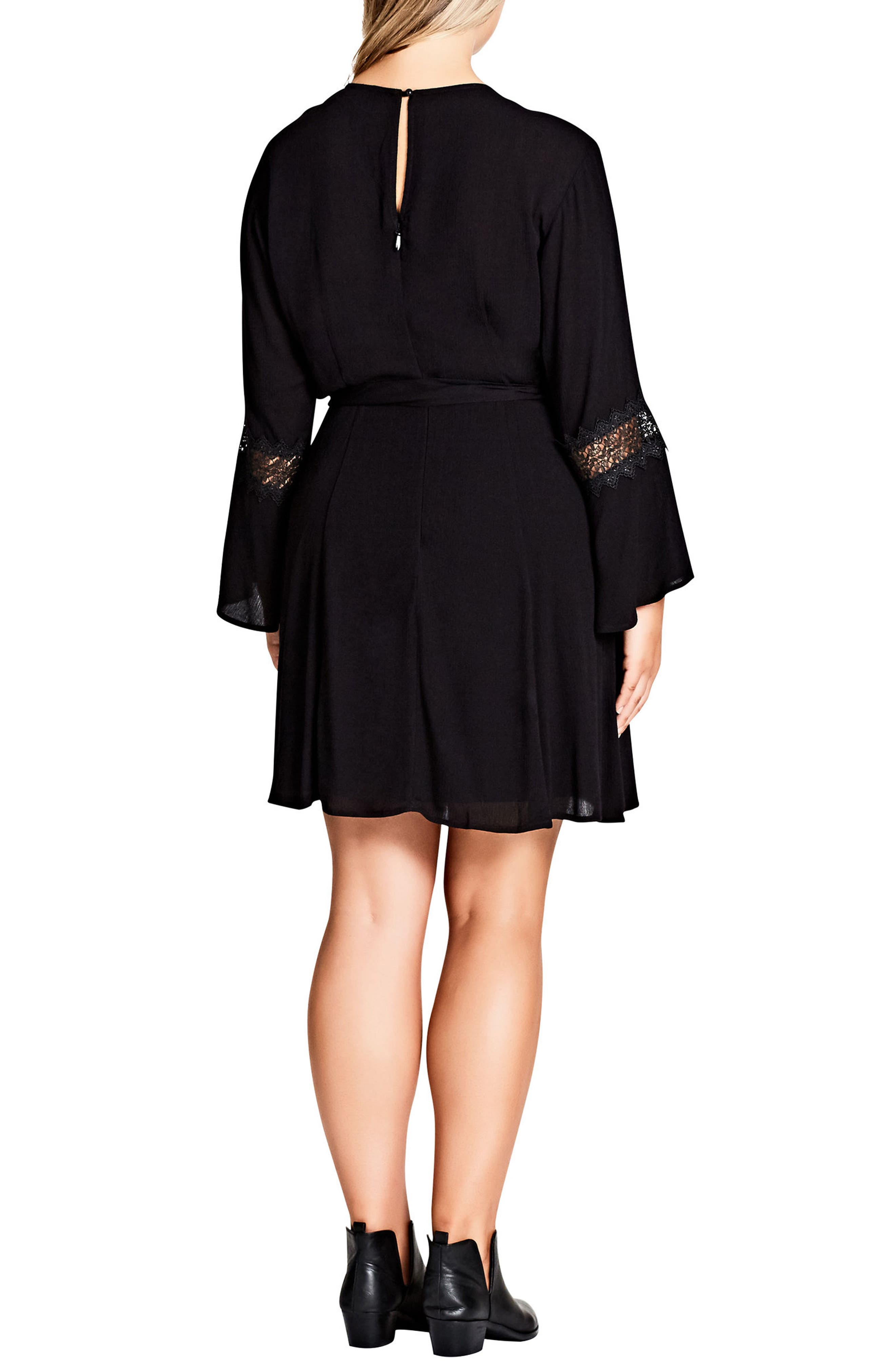 Lacey Bell Faux Wrap Dress,                             Alternate thumbnail 2, color,                             Black
