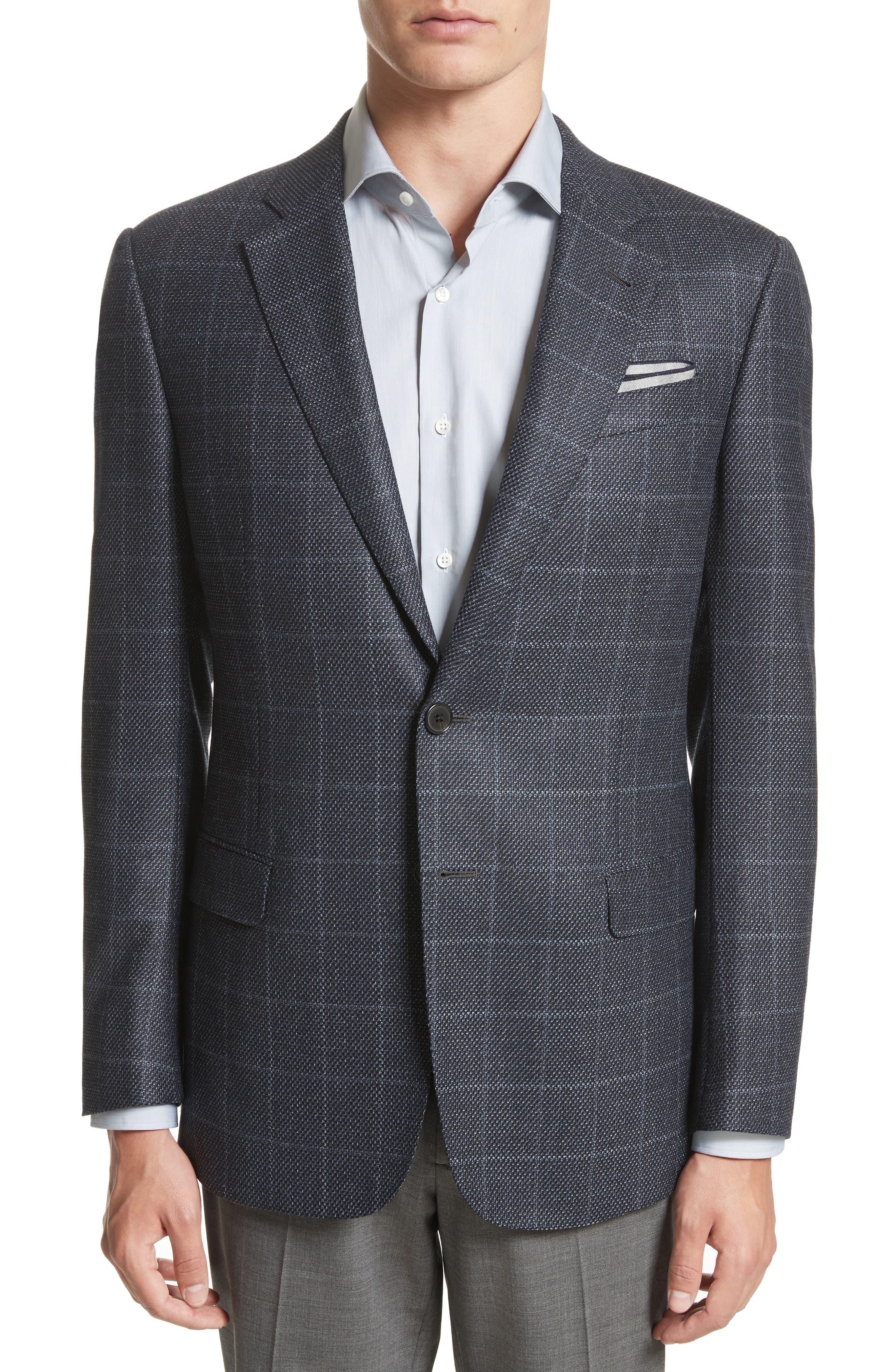 Armani Collezioni G-Line Trim Fit Windowpane Wool & Cashmere Sport Coat