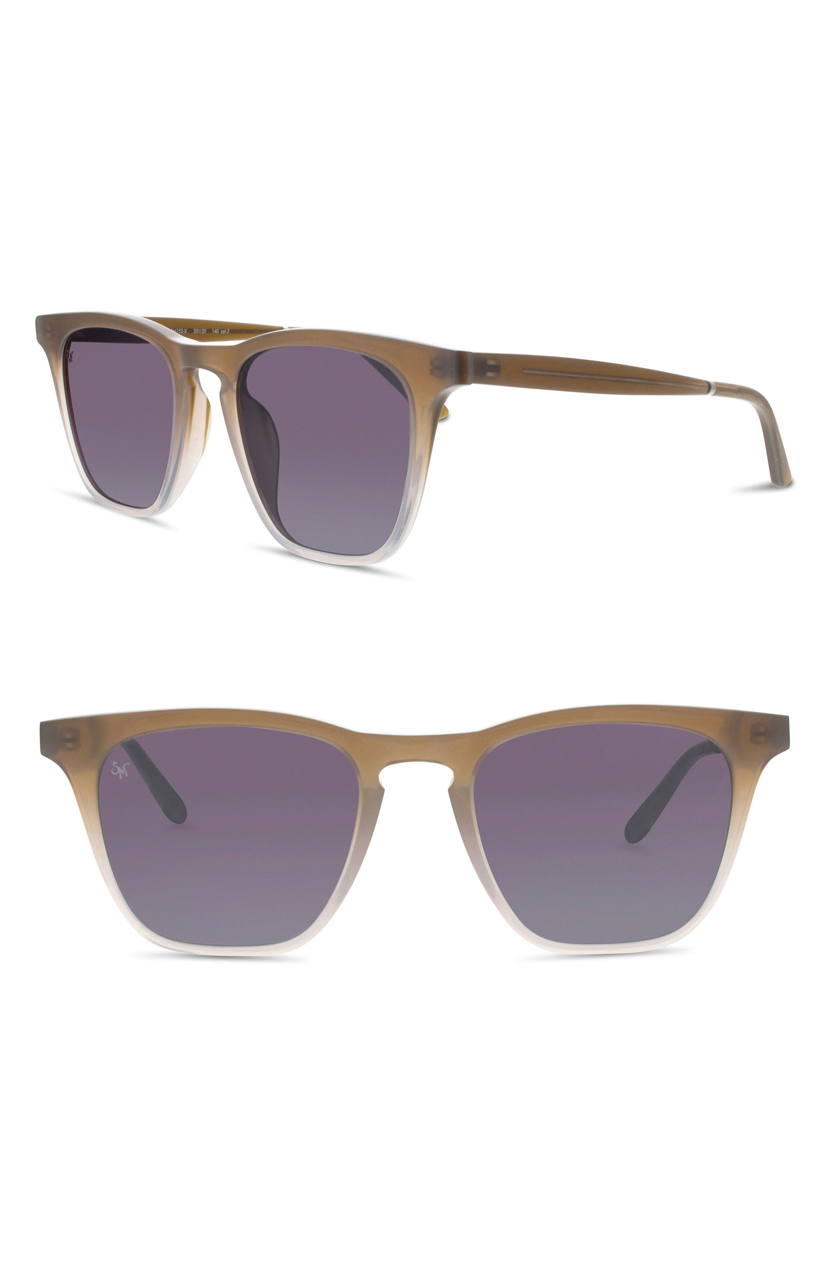 SMOKE X MIRRORS ROCKET 88 50MM SQUARE SUNGLASSES - TAUPE/ SILVER MIRROR