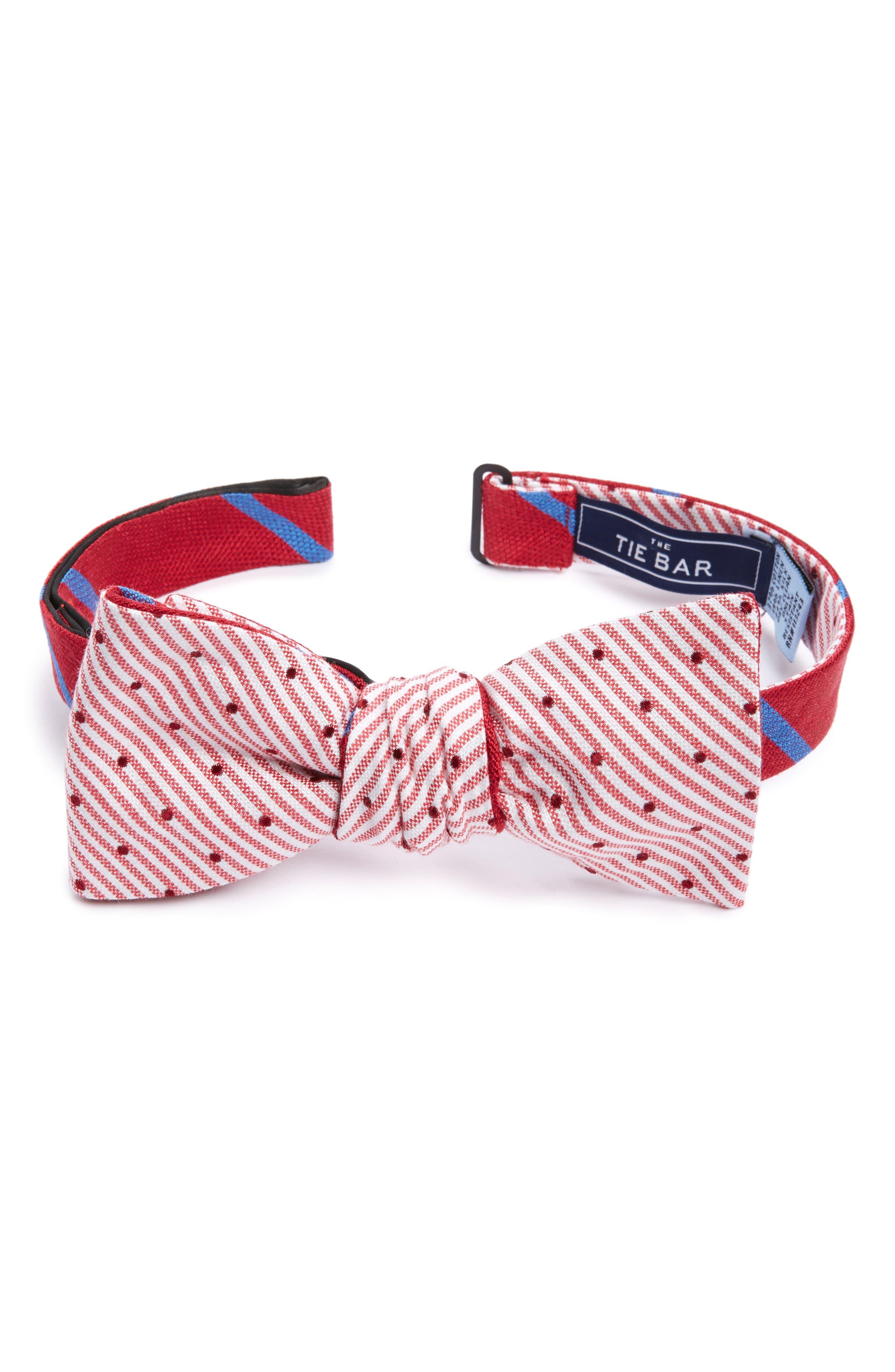 Spring Break Reversible Silk & Linen Bow Tie,                         Main,                         color, Red