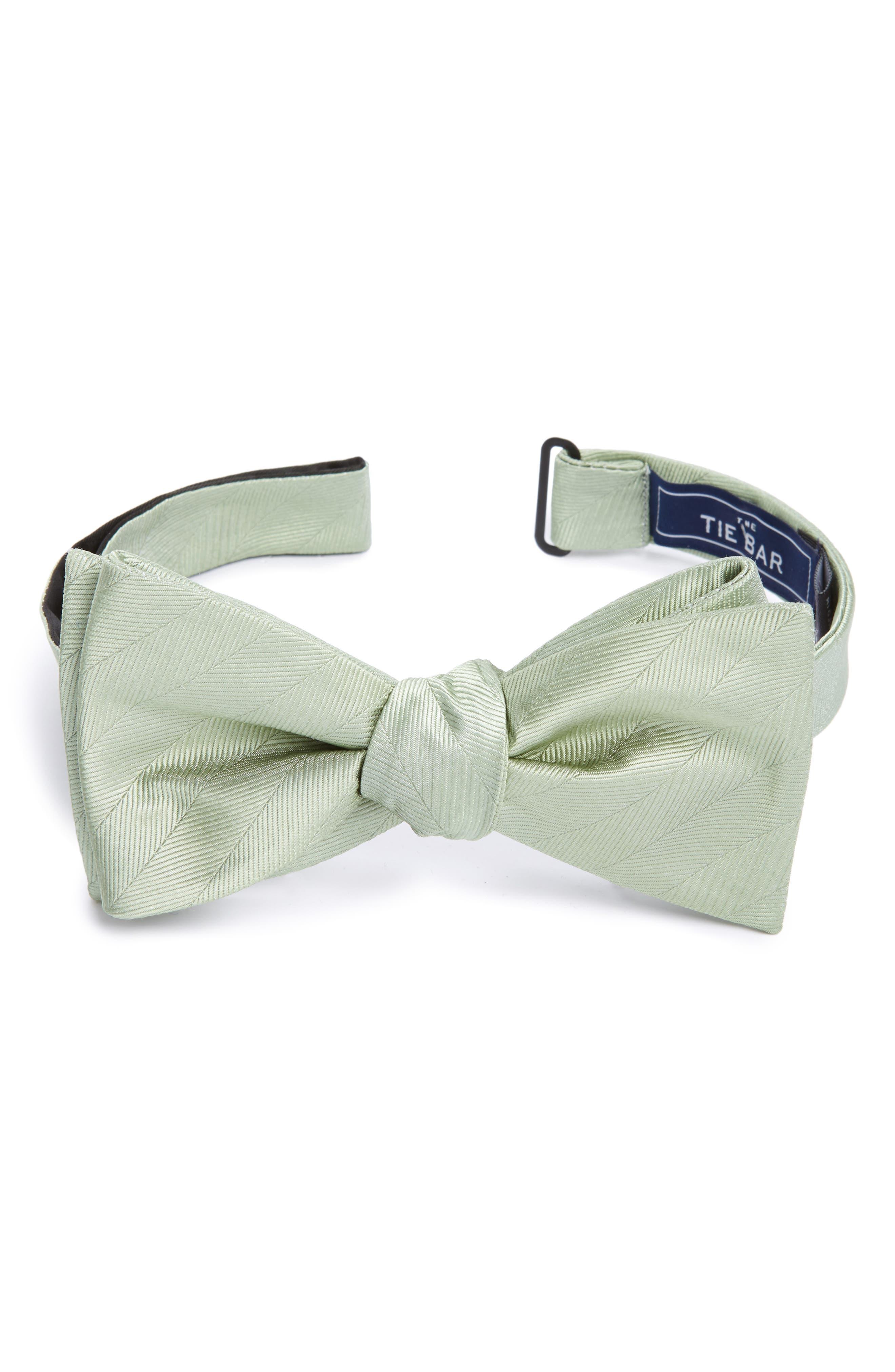 Herringbone Silk Bow Tie,                             Main thumbnail 1, color,                             Sage Green