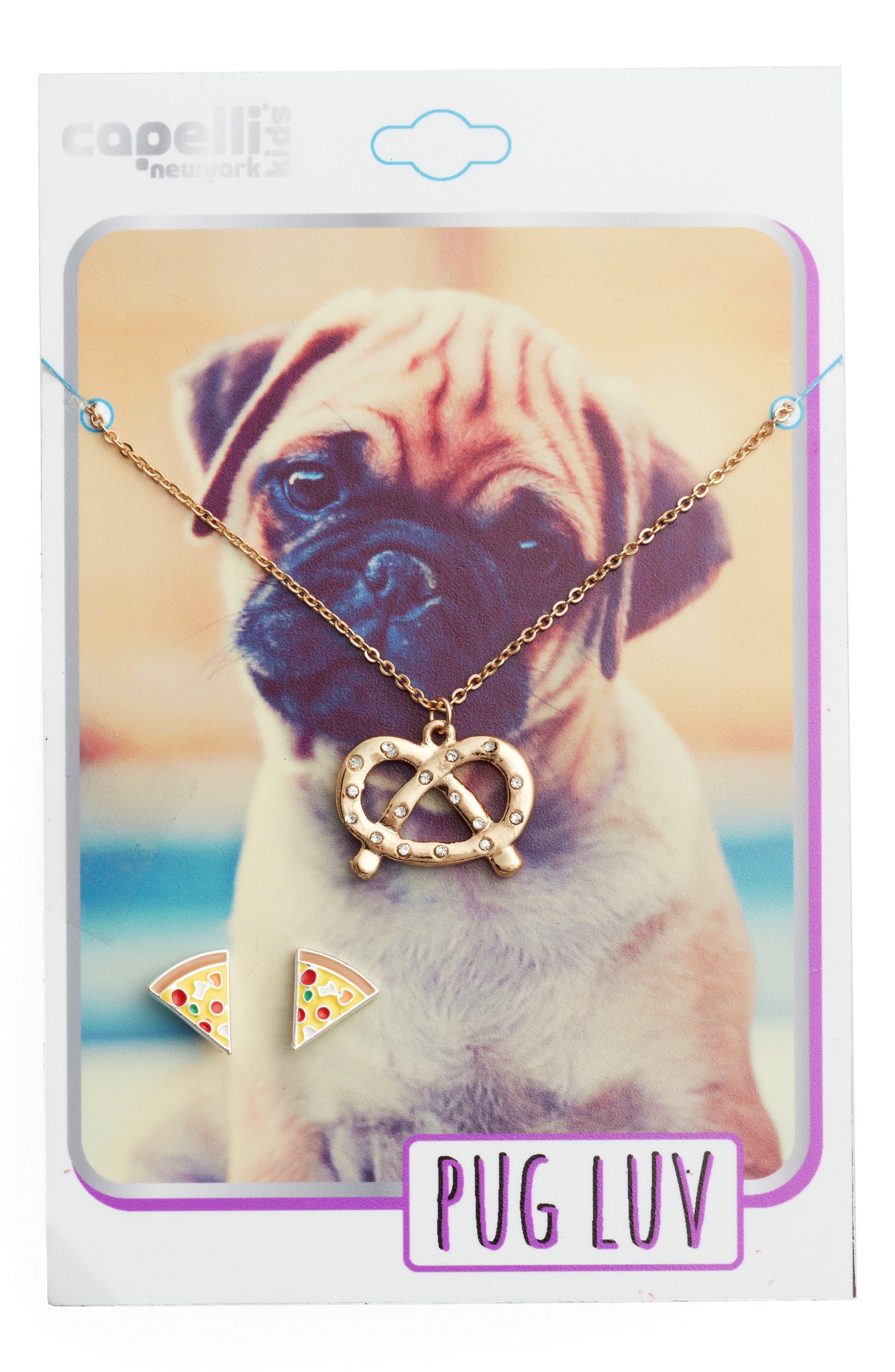 Alternate Image 2  - Capelli New York Pug Love Pendant Necklace & Earrings Set (Girls)