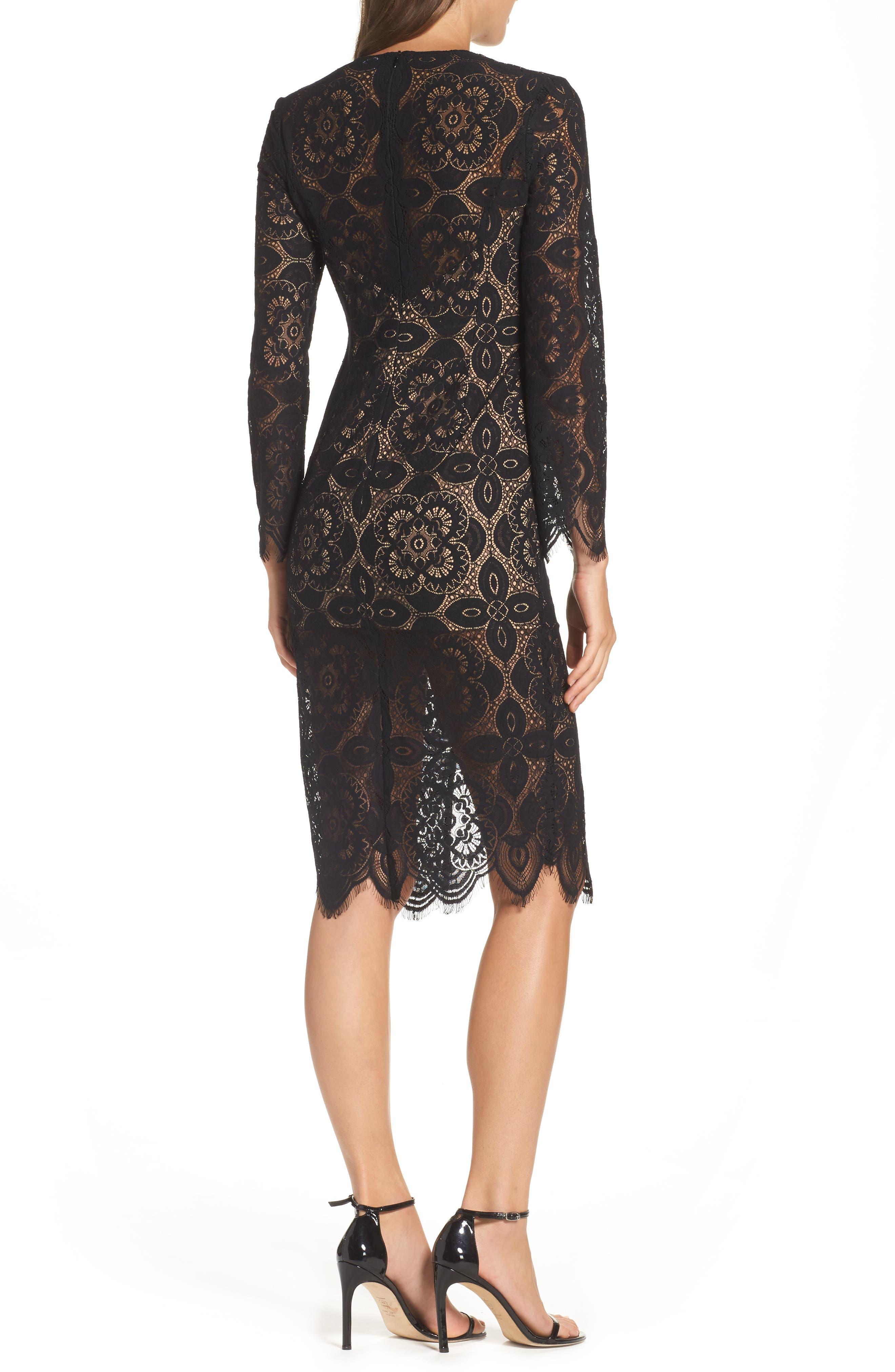 V-Neck Lace Sheath Dress,                             Alternate thumbnail 2, color,                             Black