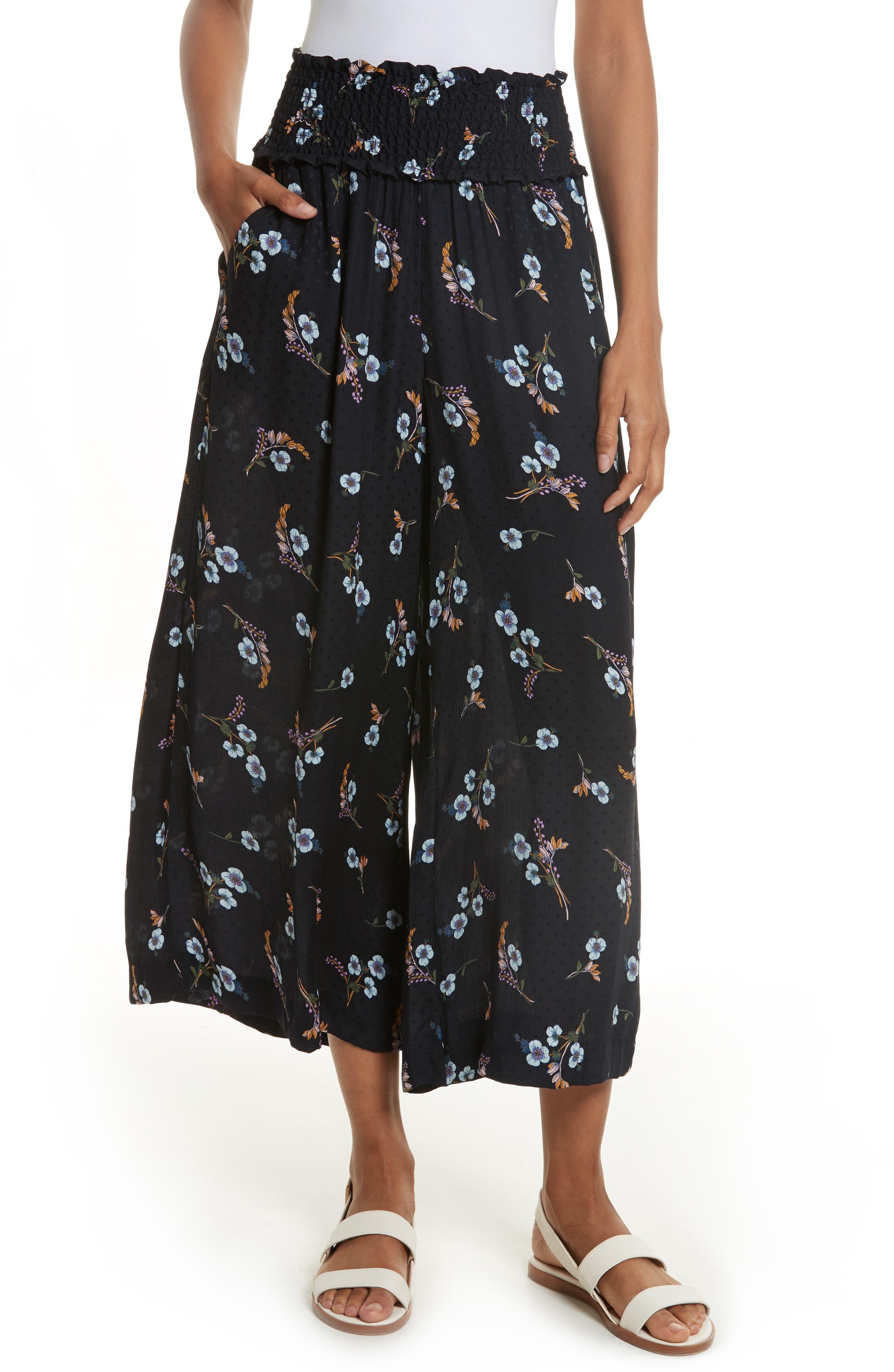 Natalie Fleur Wide Leg Crop Silk Pants,                         Main,                         color, Dark Navy Combo
