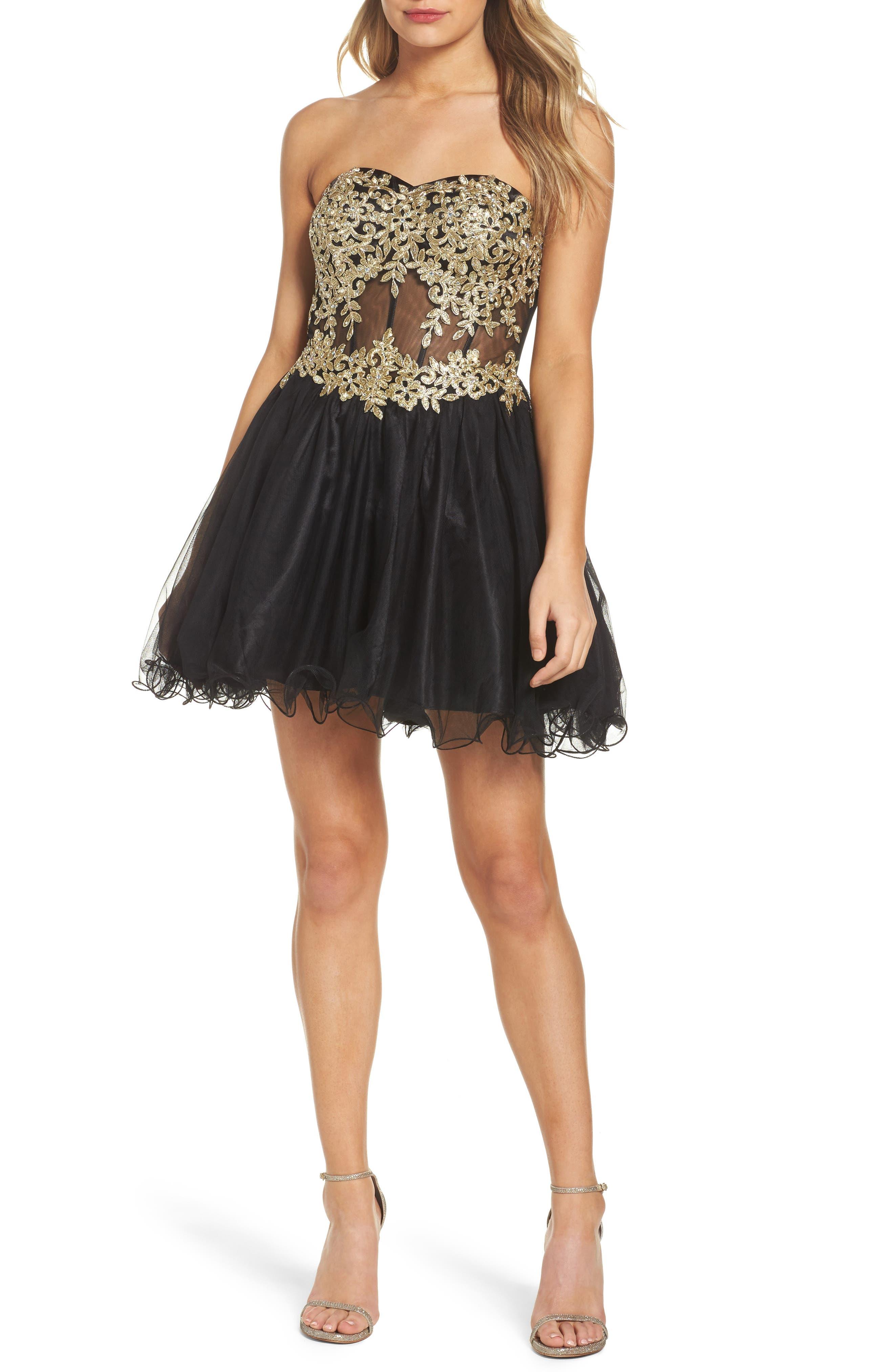 Appliqué Strapless Fit & Flare Dress,                         Main,                         color, Black/ Gold