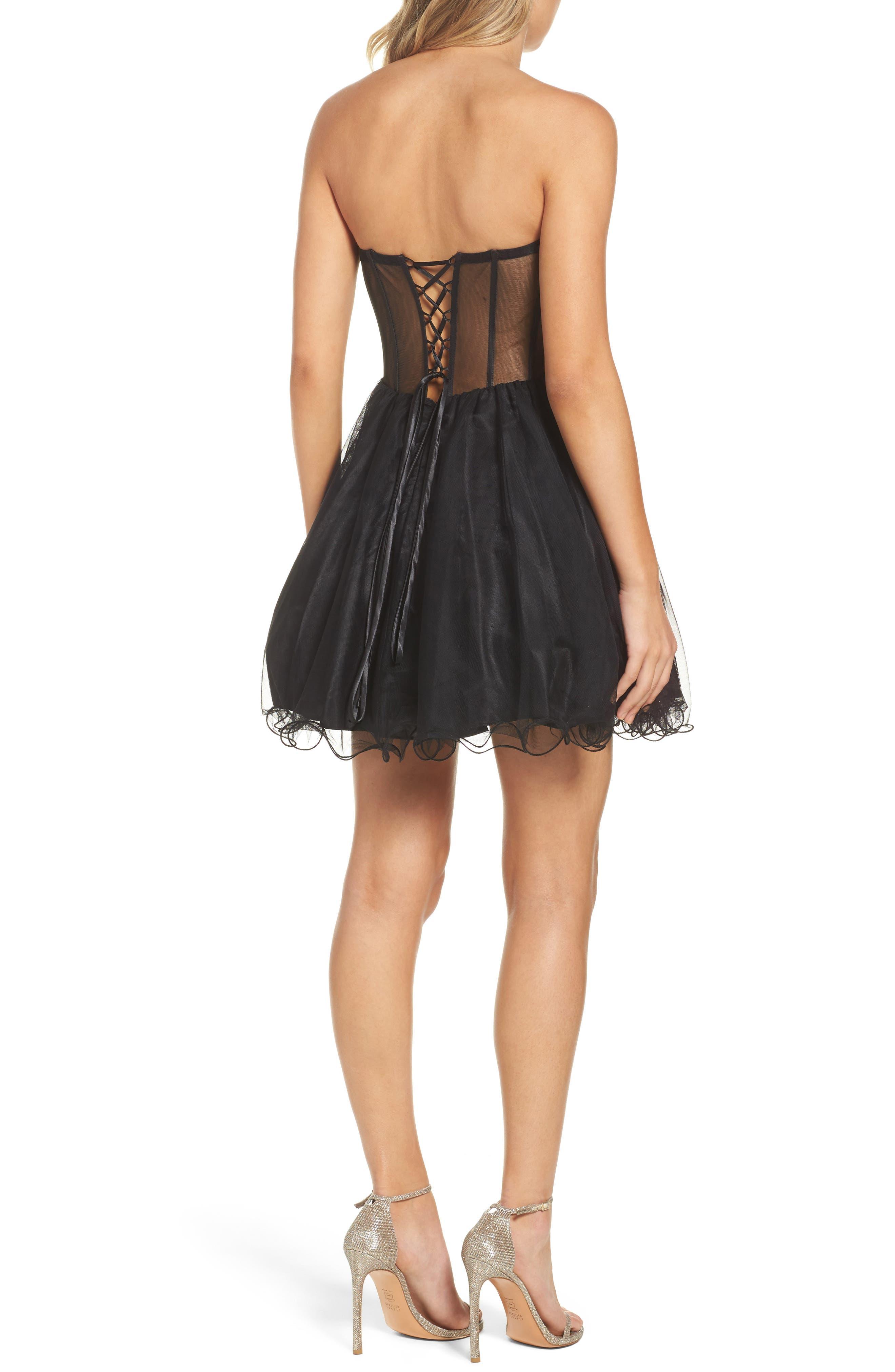 Appliqué Strapless Fit & Flare Dress,                             Alternate thumbnail 2, color,                             Black/ Gold