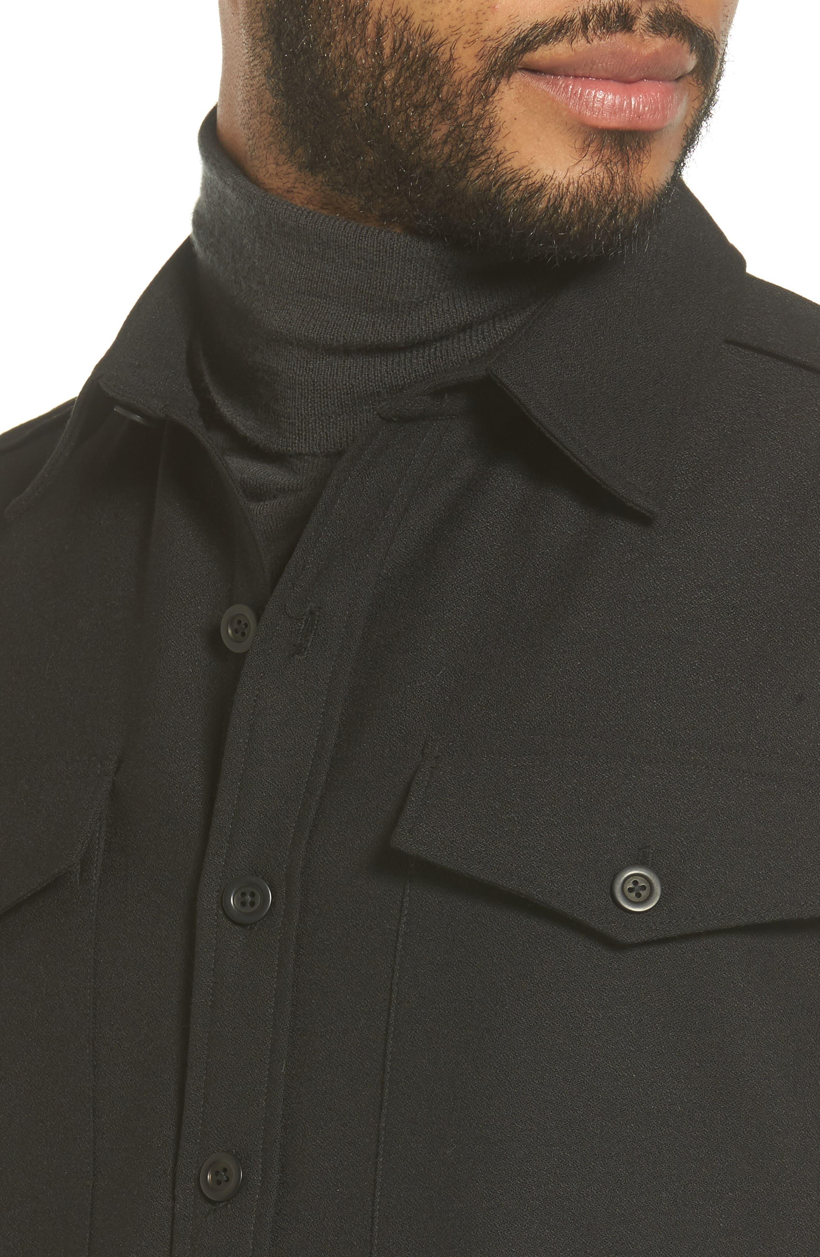 Regular Fit Sport Shirt,                             Alternate thumbnail 4, color,                             Black