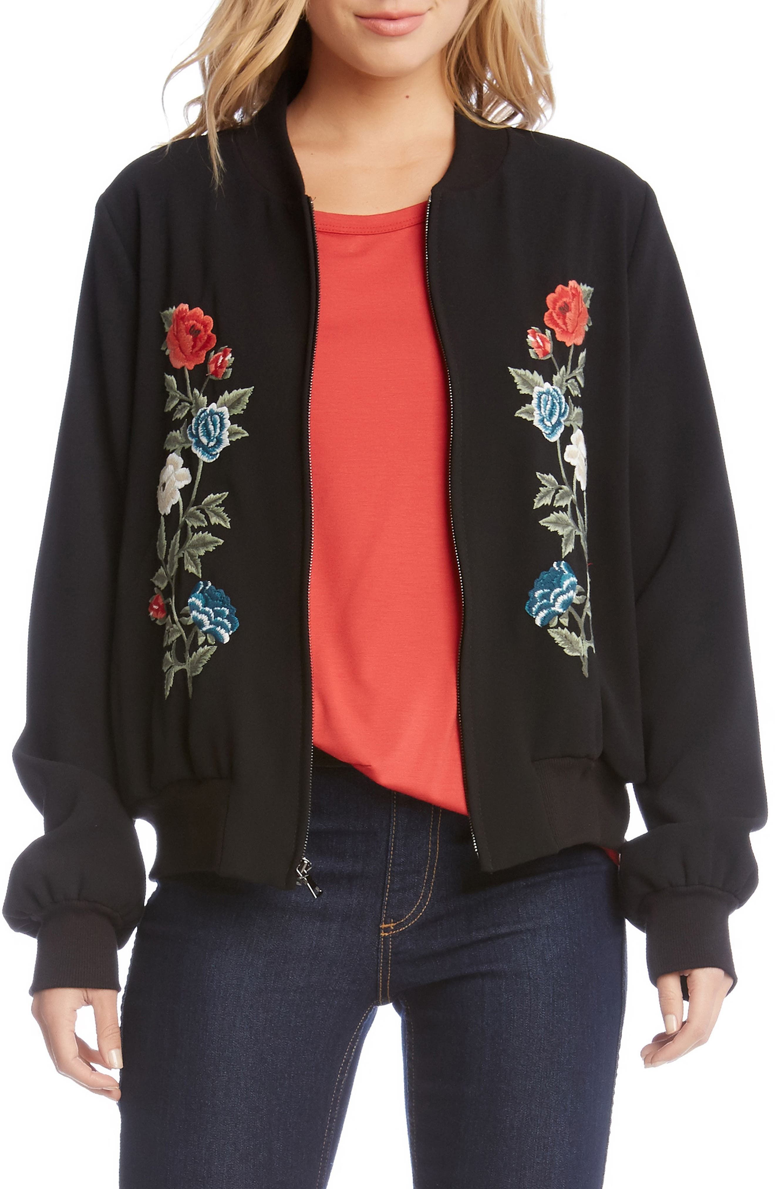 Embroidered Bomber Jacket,                             Main thumbnail 1, color,                             Black