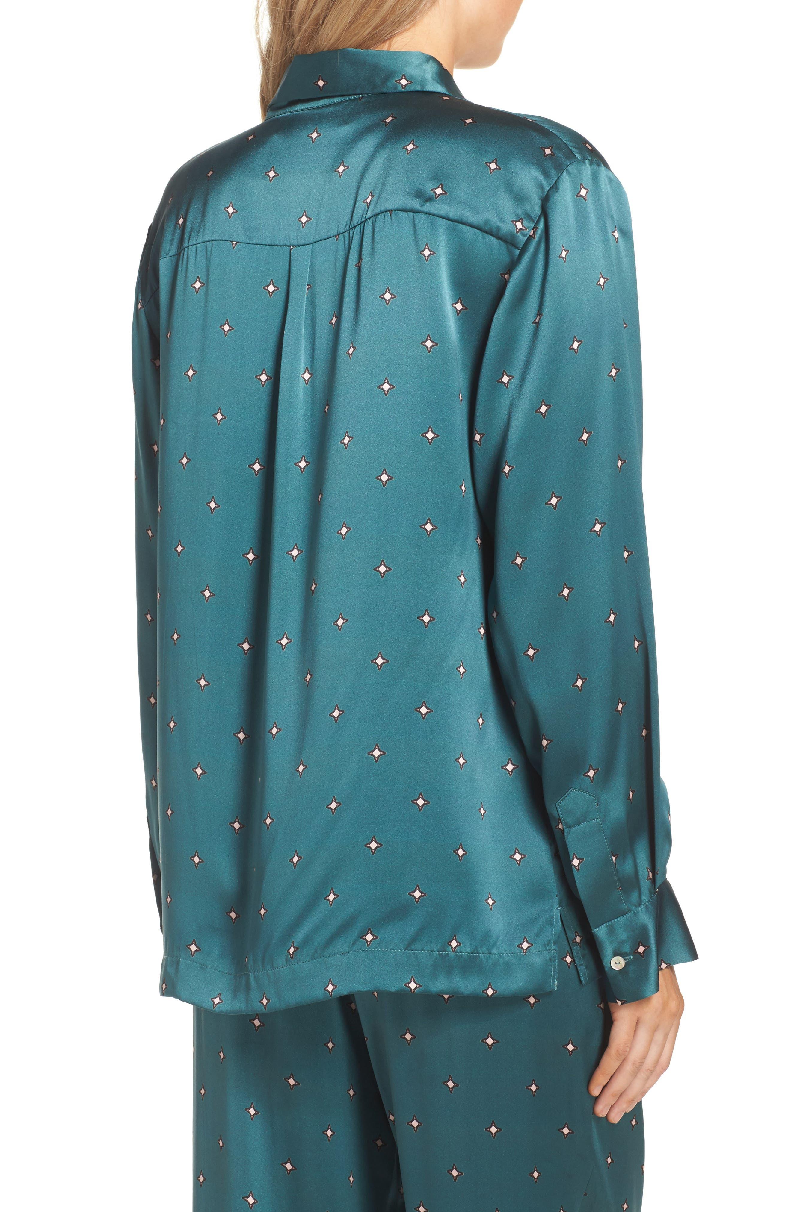 Print Silk Pajama Top,                             Alternate thumbnail 2, color,                             Jade Star