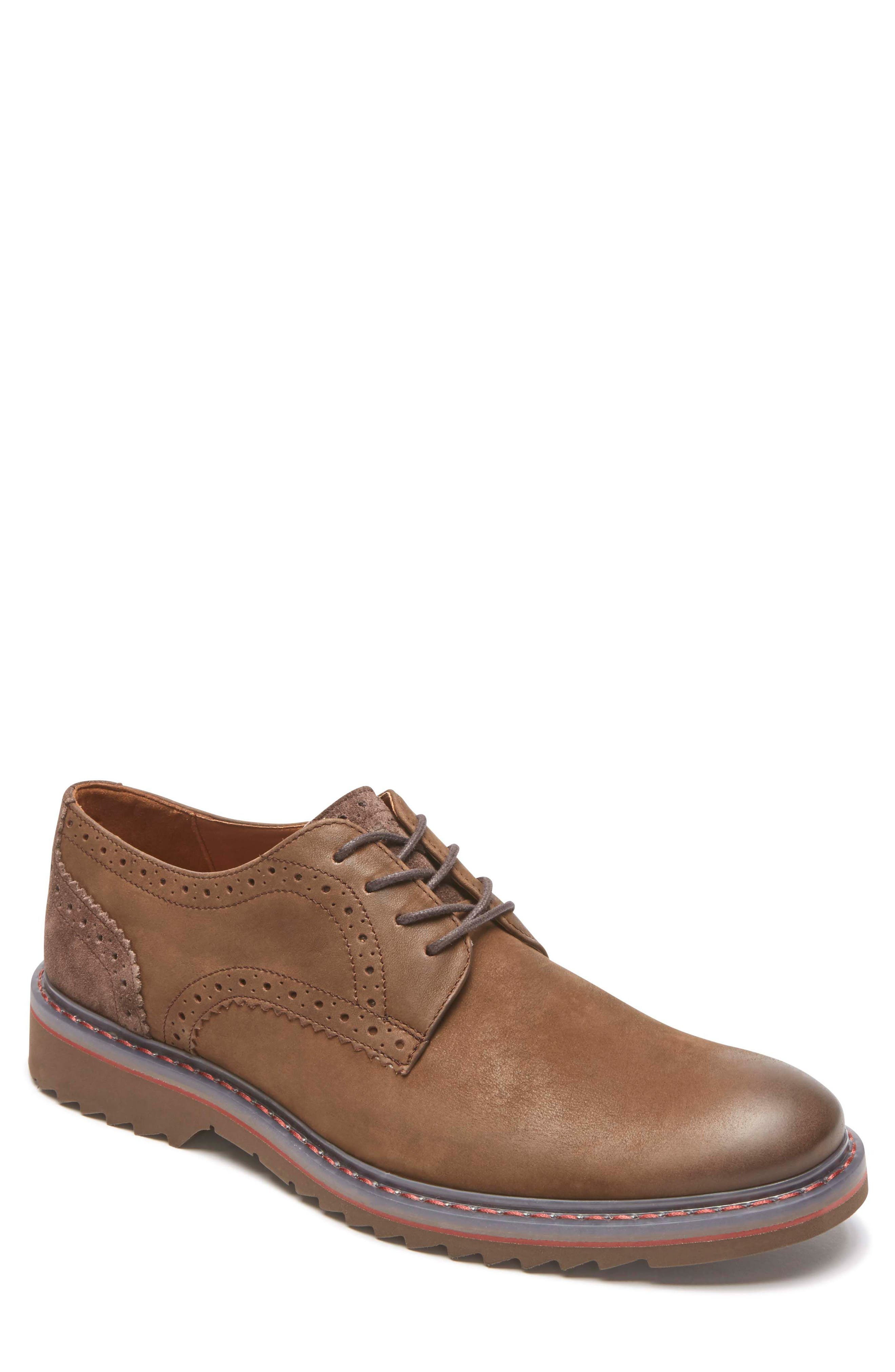 Jaxson Plain Toe Derby,                         Main,                         color, Brown Leather