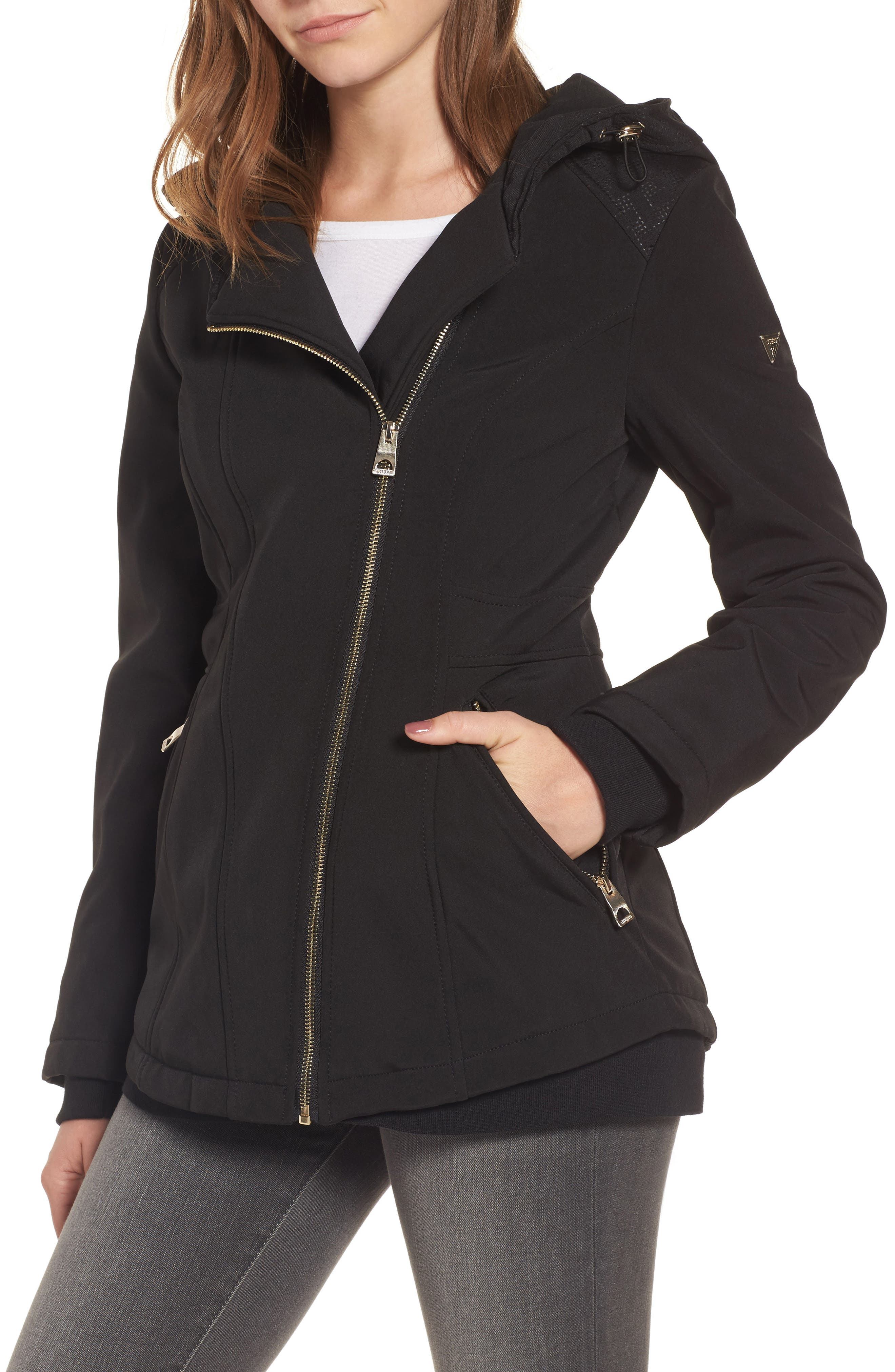 Asymmetrical Soft Shell Coat,                         Main,                         color, Black