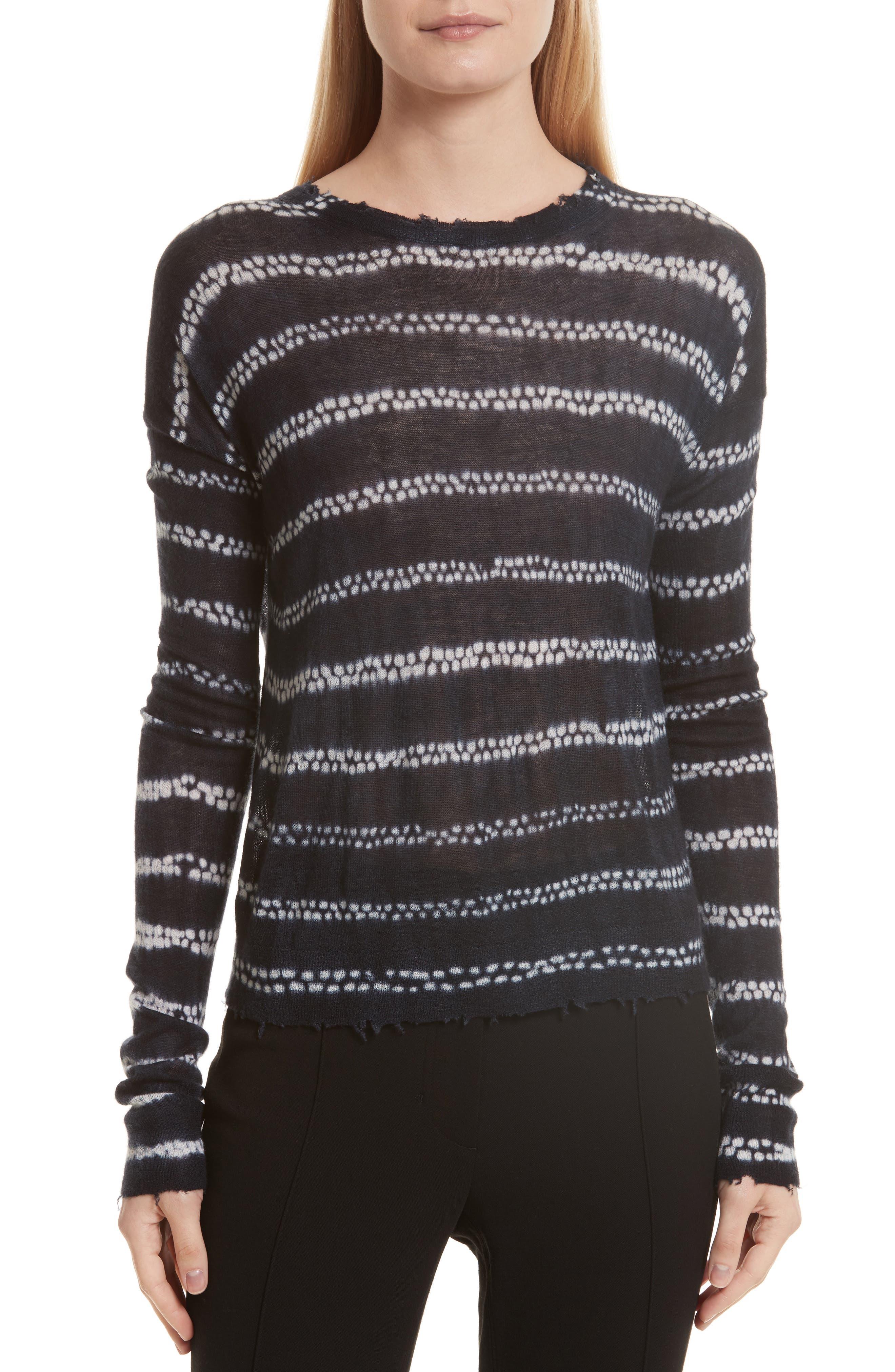 Grunge Stripe Cashmere Sweater,                         Main,                         color, Indigo Multi