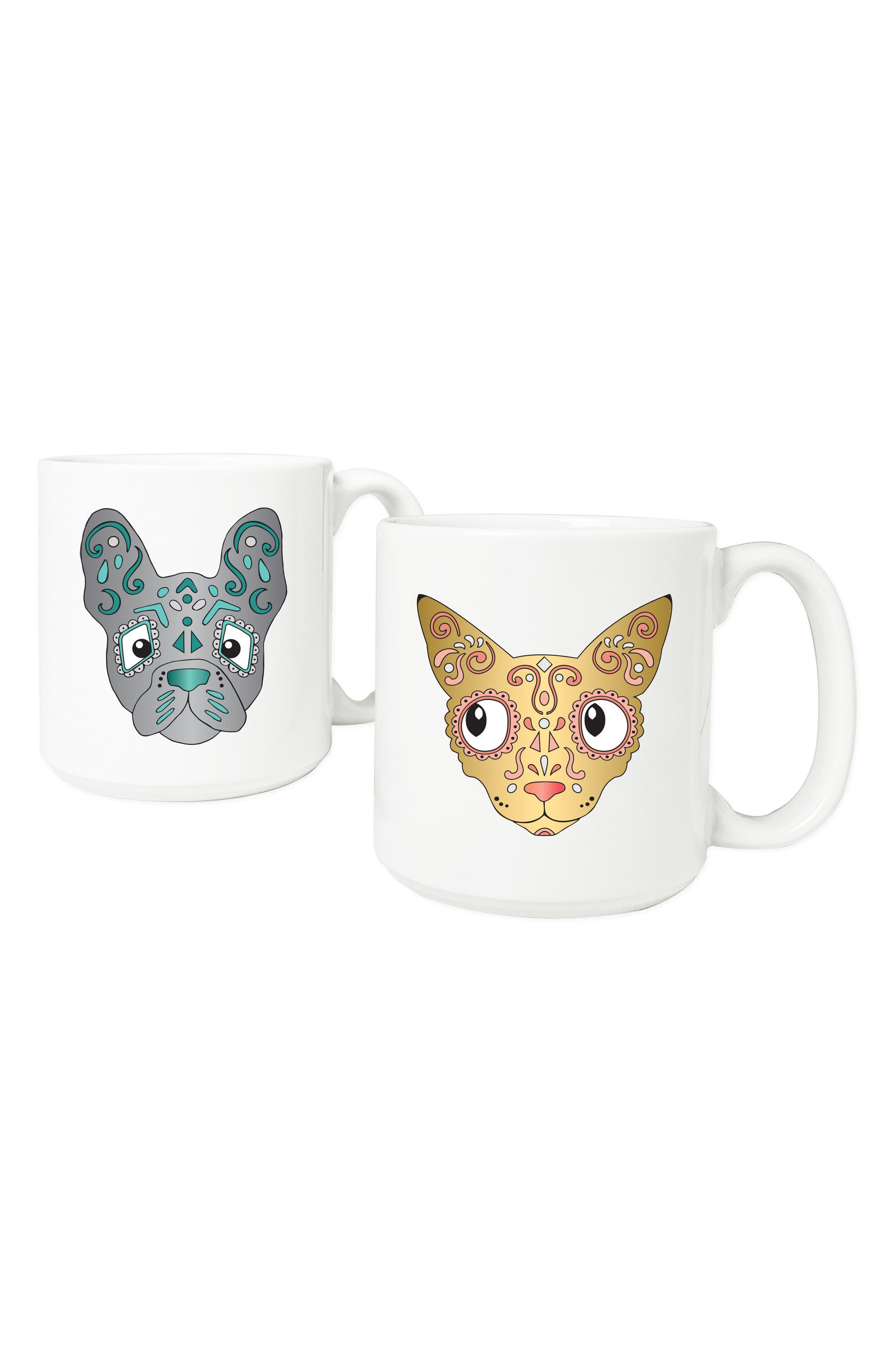 Set of 2 Sugar Skull Pet Mugs,                         Main,                         color, White
