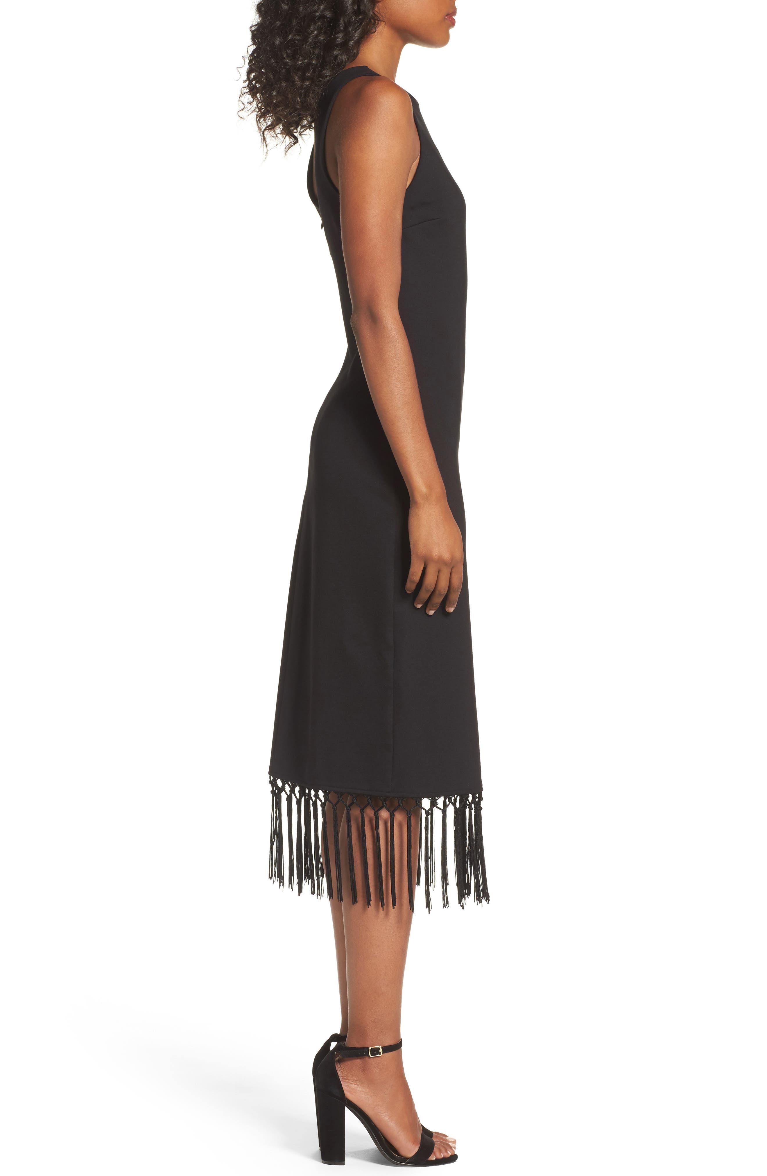 Tassel Midi Dress,                             Alternate thumbnail 3, color,                             Black