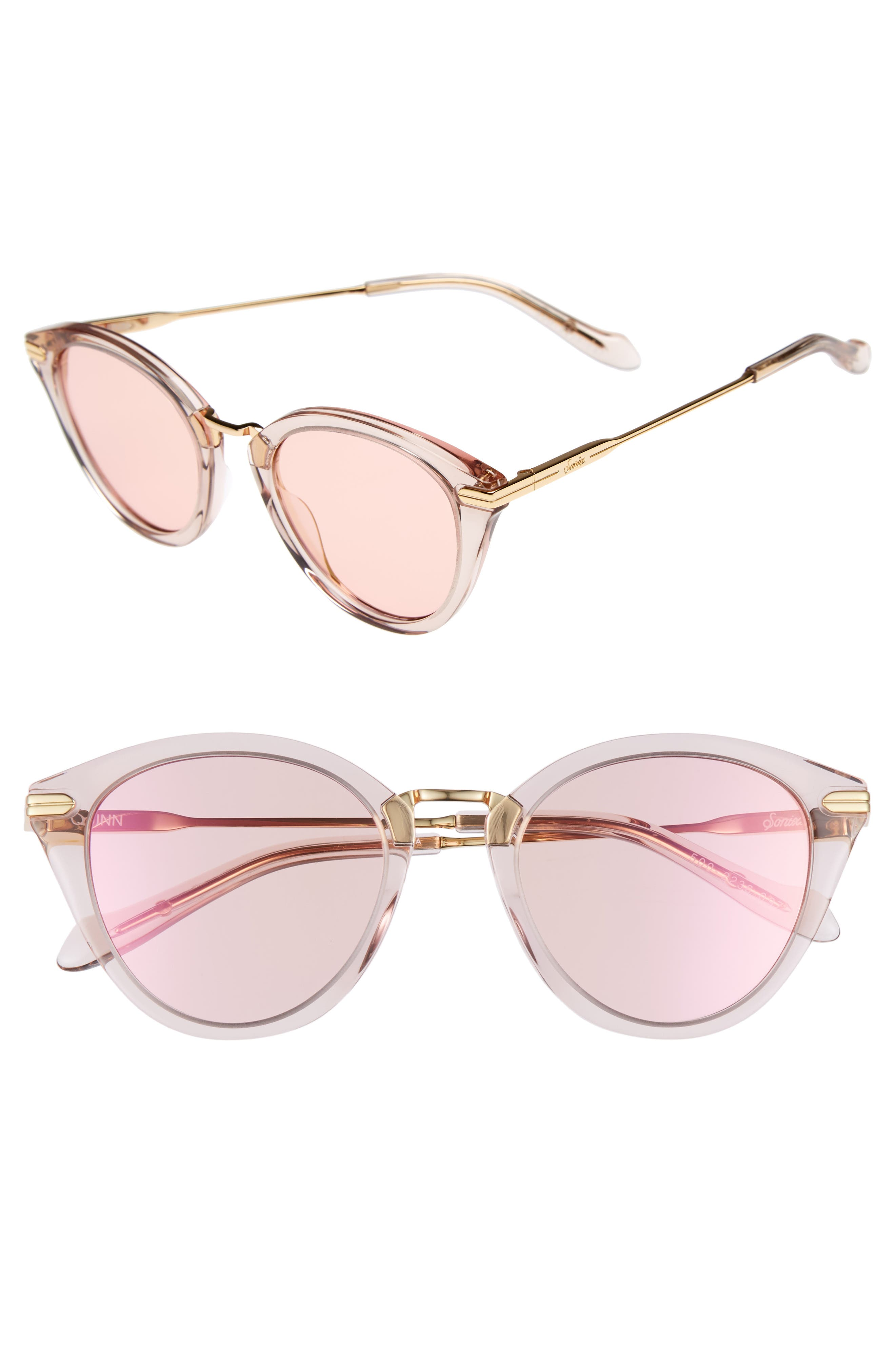 Quinn 48mm Cat Eye Sunglasses,                             Main thumbnail 1, color,                             Mauve Clear/ Pink Mirror