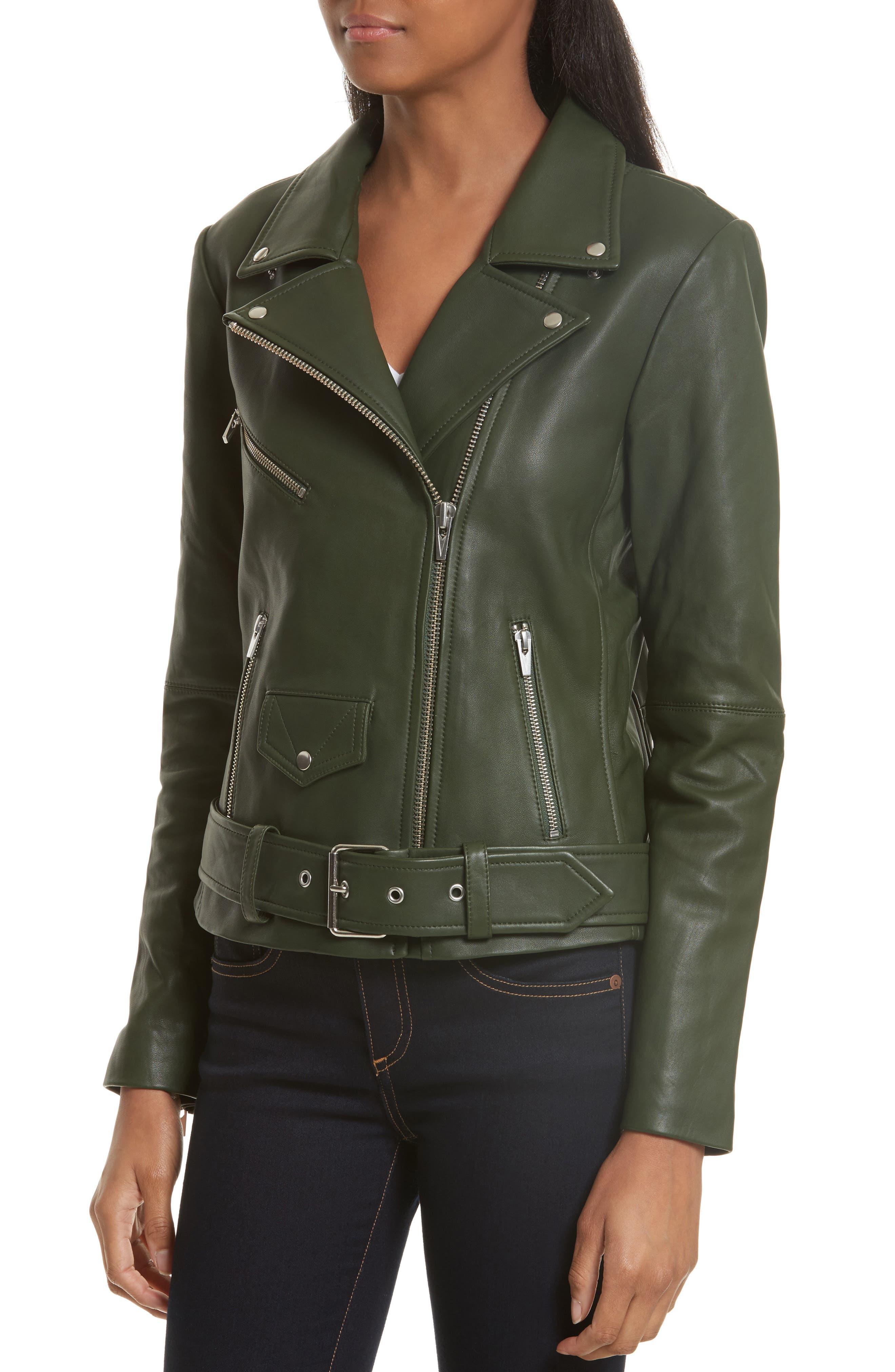 Jayne Orion Lambskin Leather Moto Jacket,                             Alternate thumbnail 4, color,                             Green