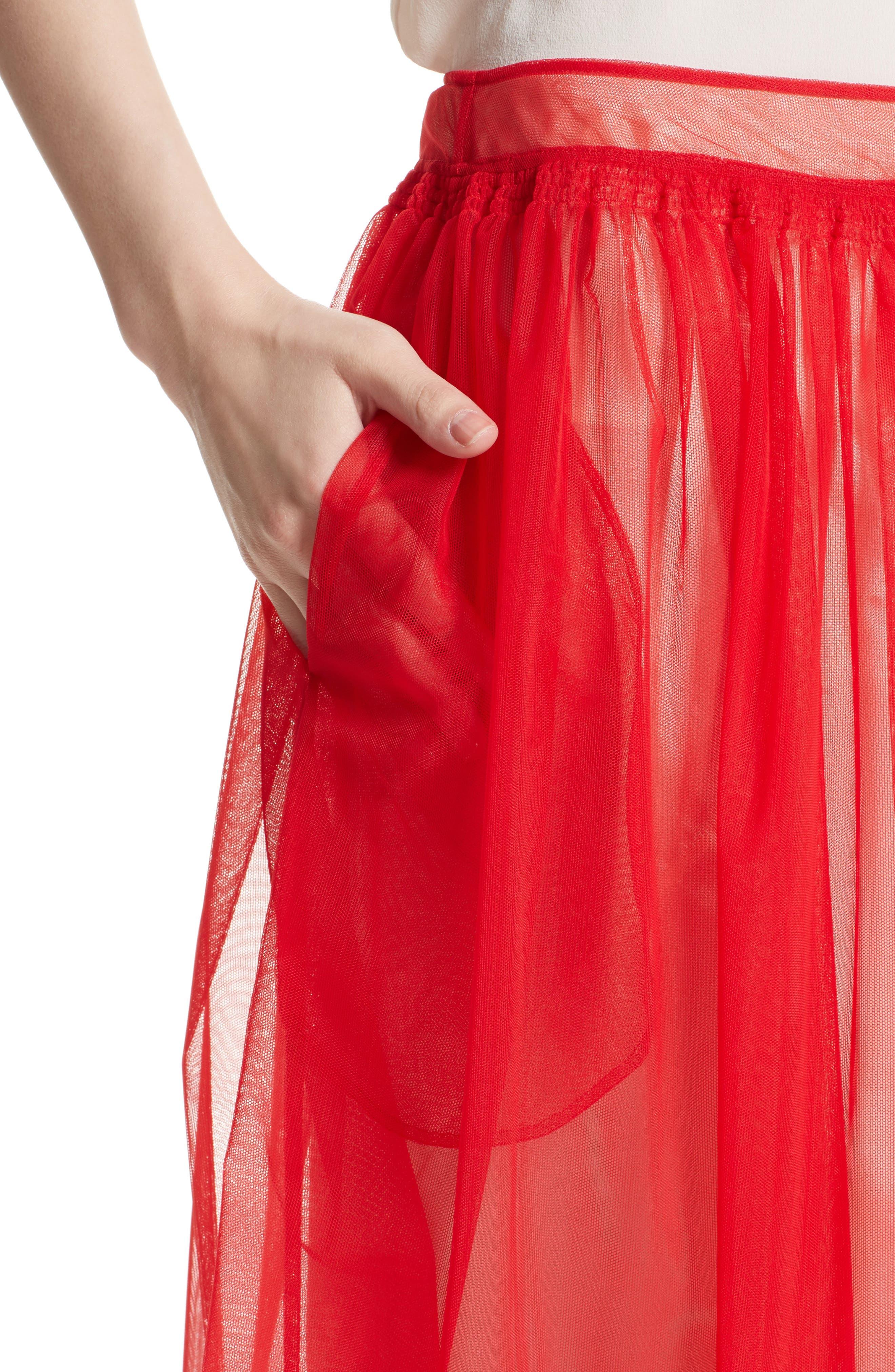 Marabou Trim Smock Waist Tulle Skirt,                             Alternate thumbnail 5, color,                             Red