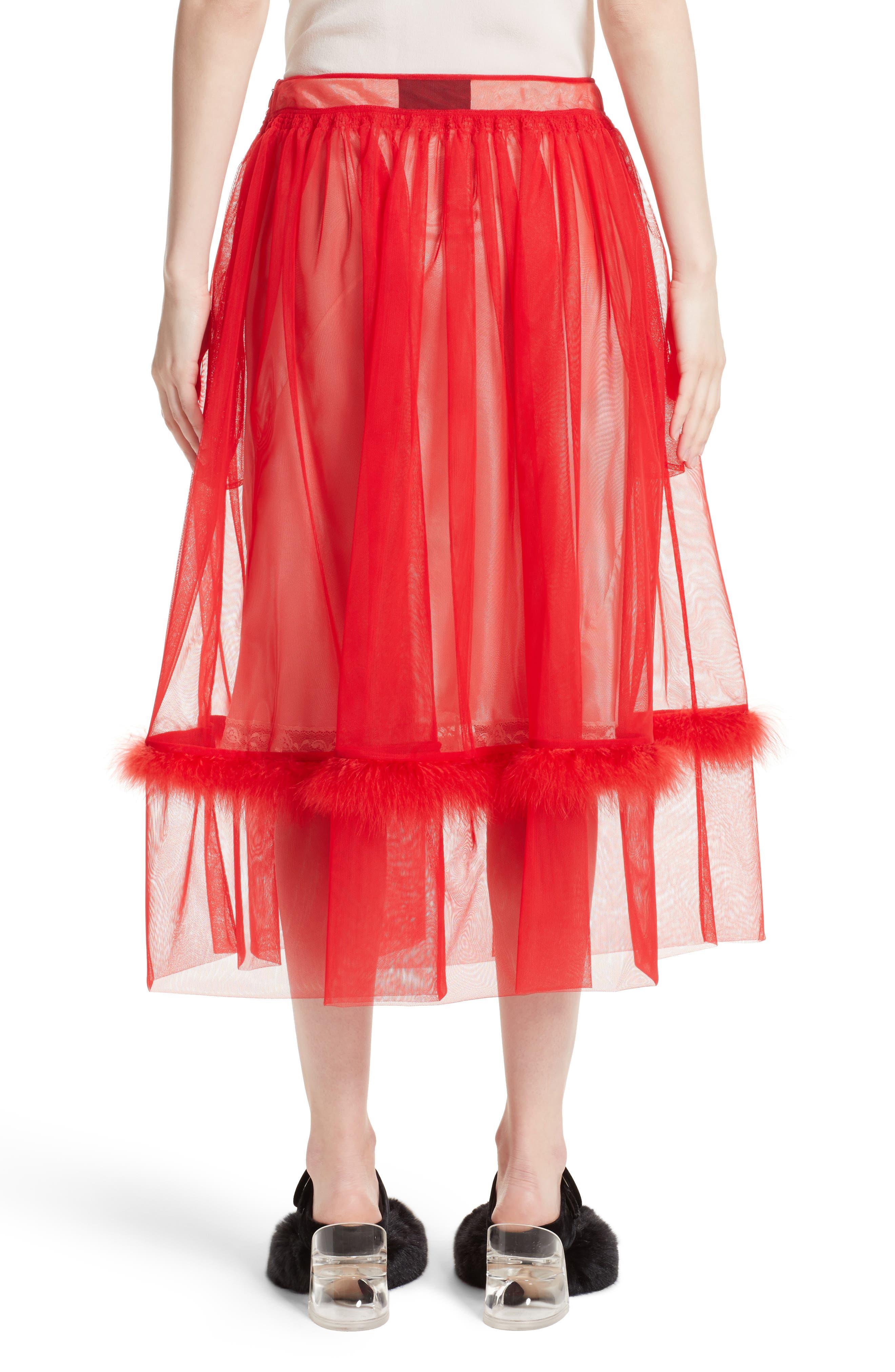 Marabou Trim Smock Waist Tulle Skirt,                             Alternate thumbnail 2, color,                             Red