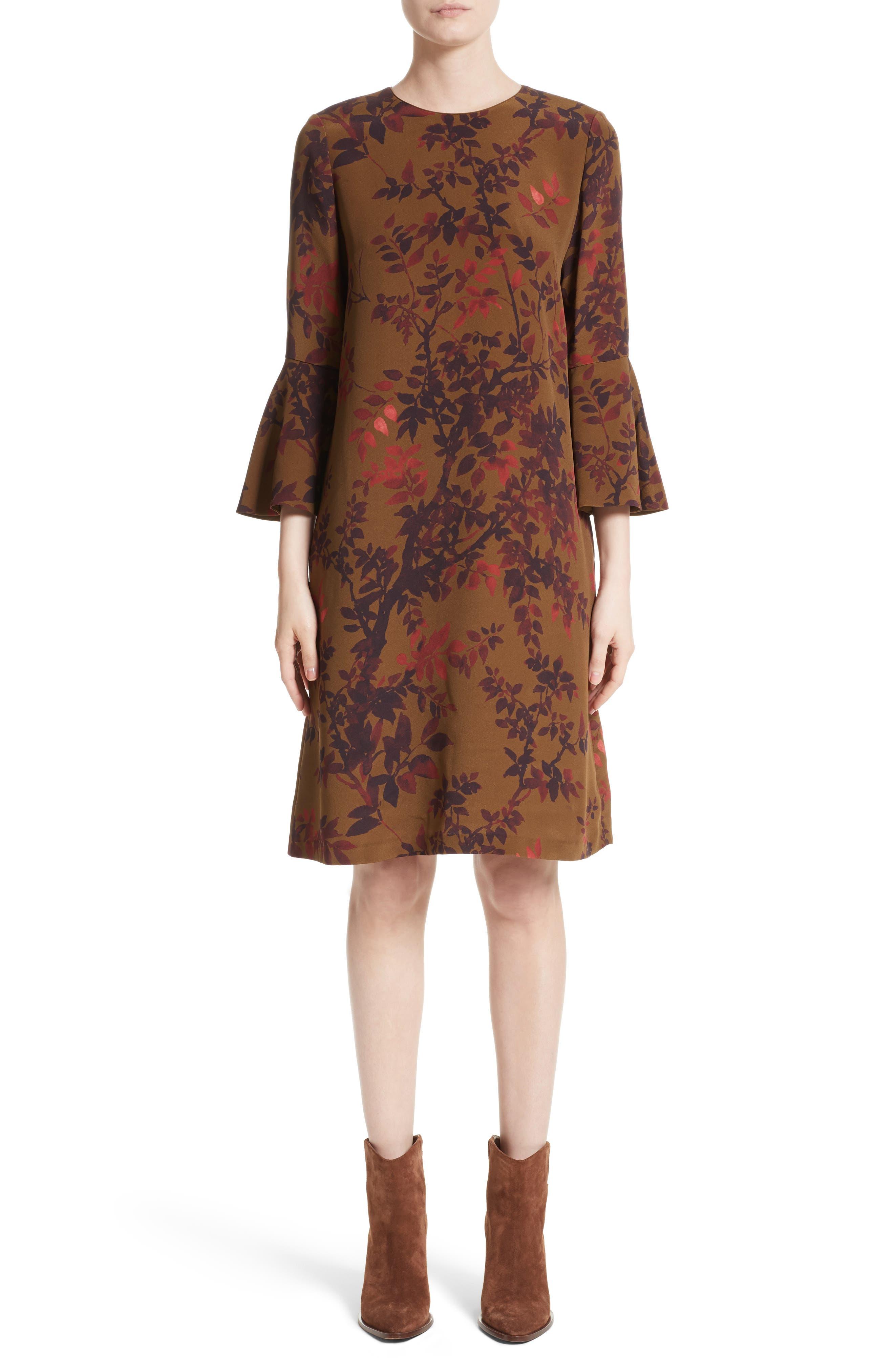 Sidra Floral Print Silk Dress,                         Main,                         color, Sequoia Multi