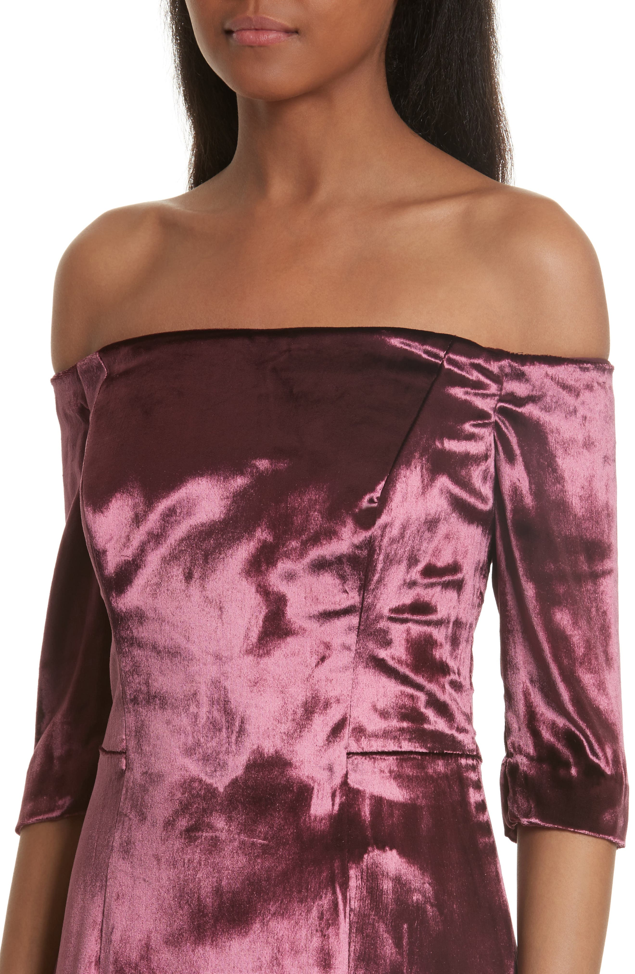 Panne Velvet Body-Con Off-the-Shoulder Dress,                             Alternate thumbnail 4, color,                             Burgundy