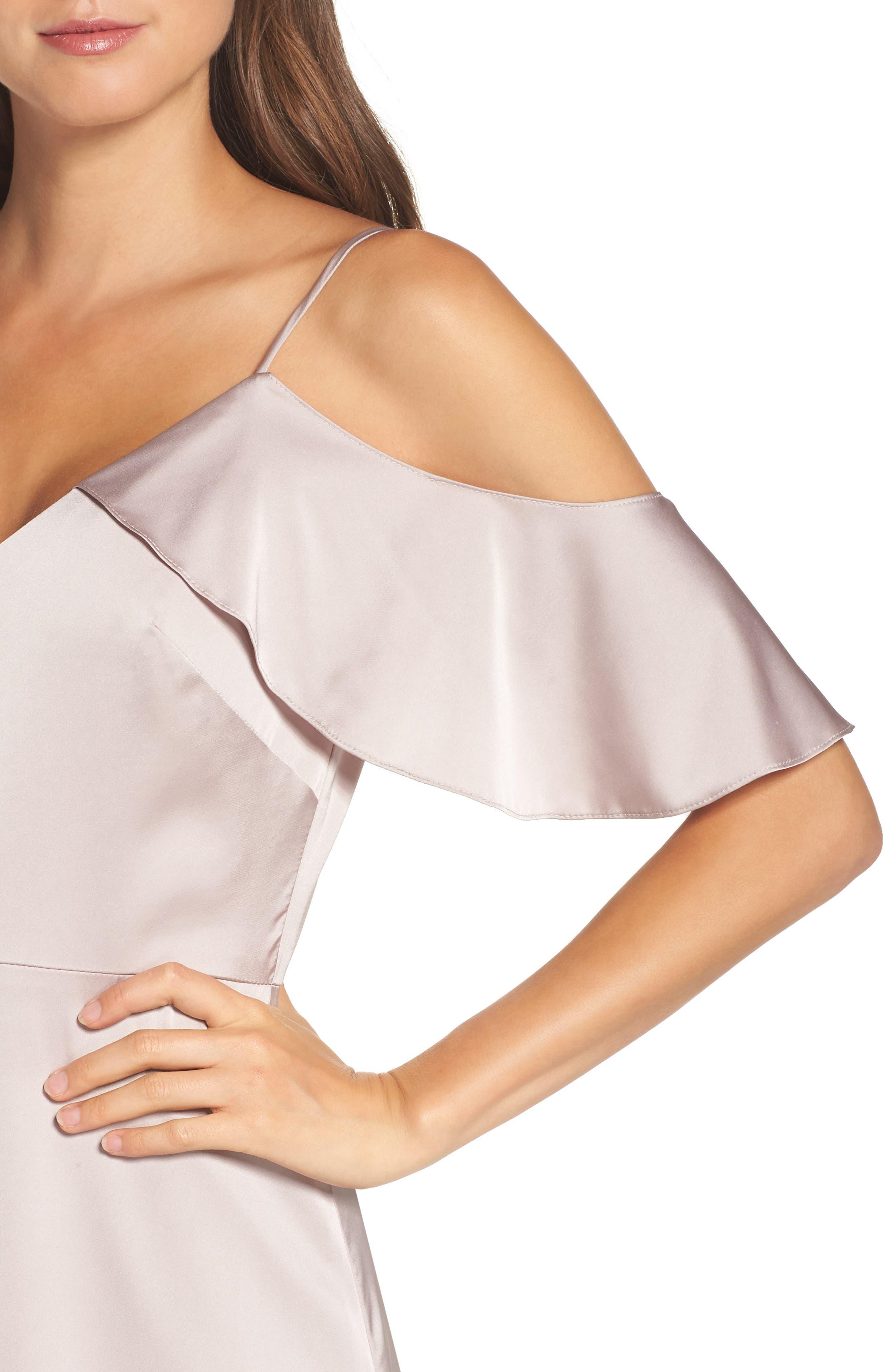 Alternate Image 5  - Monique Lhuillier Bridesmaids Isabel Sateen Cold Shoulder Gown