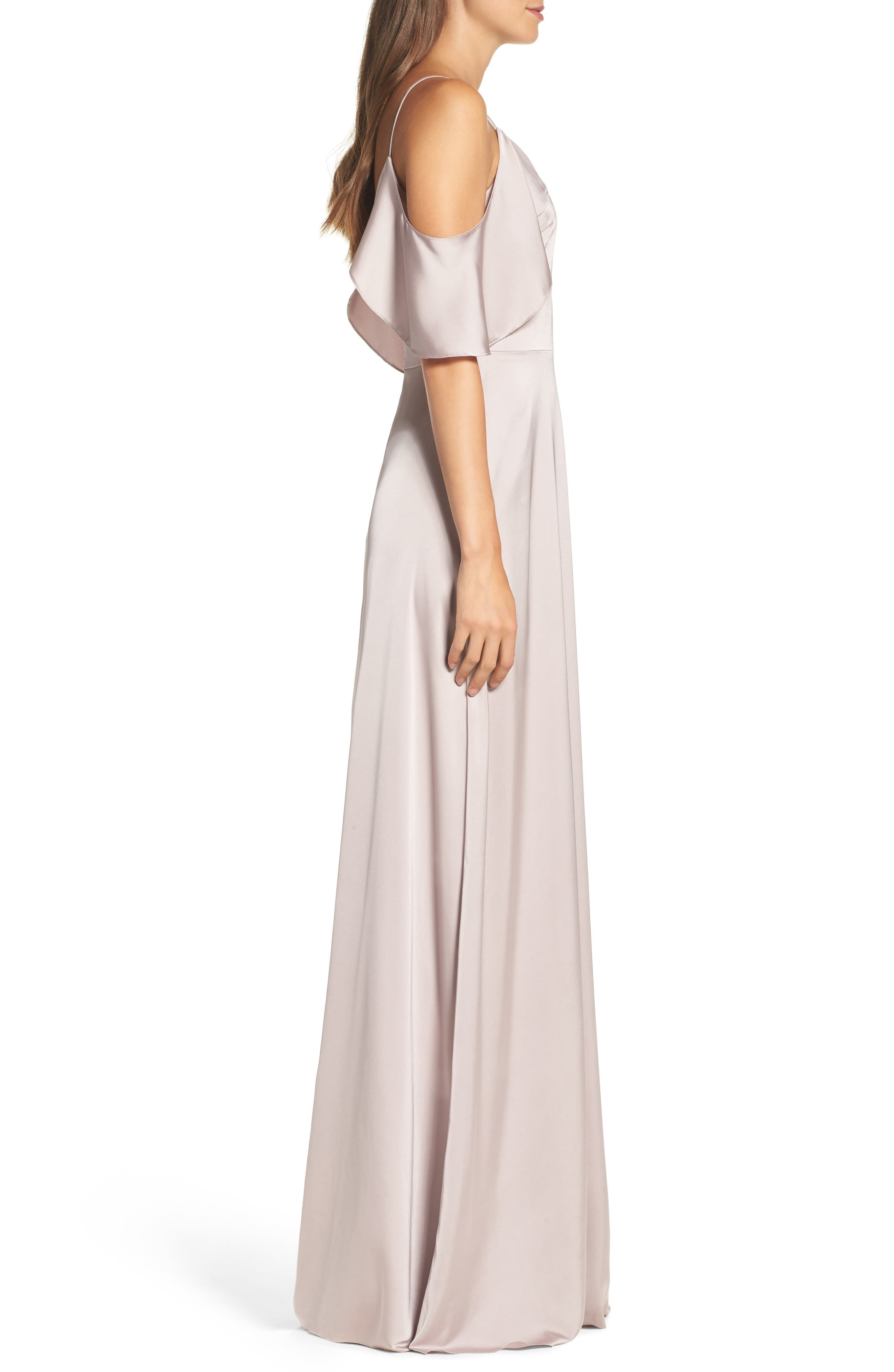 Alternate Image 4  - Monique Lhuillier Bridesmaids Isabel Sateen Cold Shoulder Gown